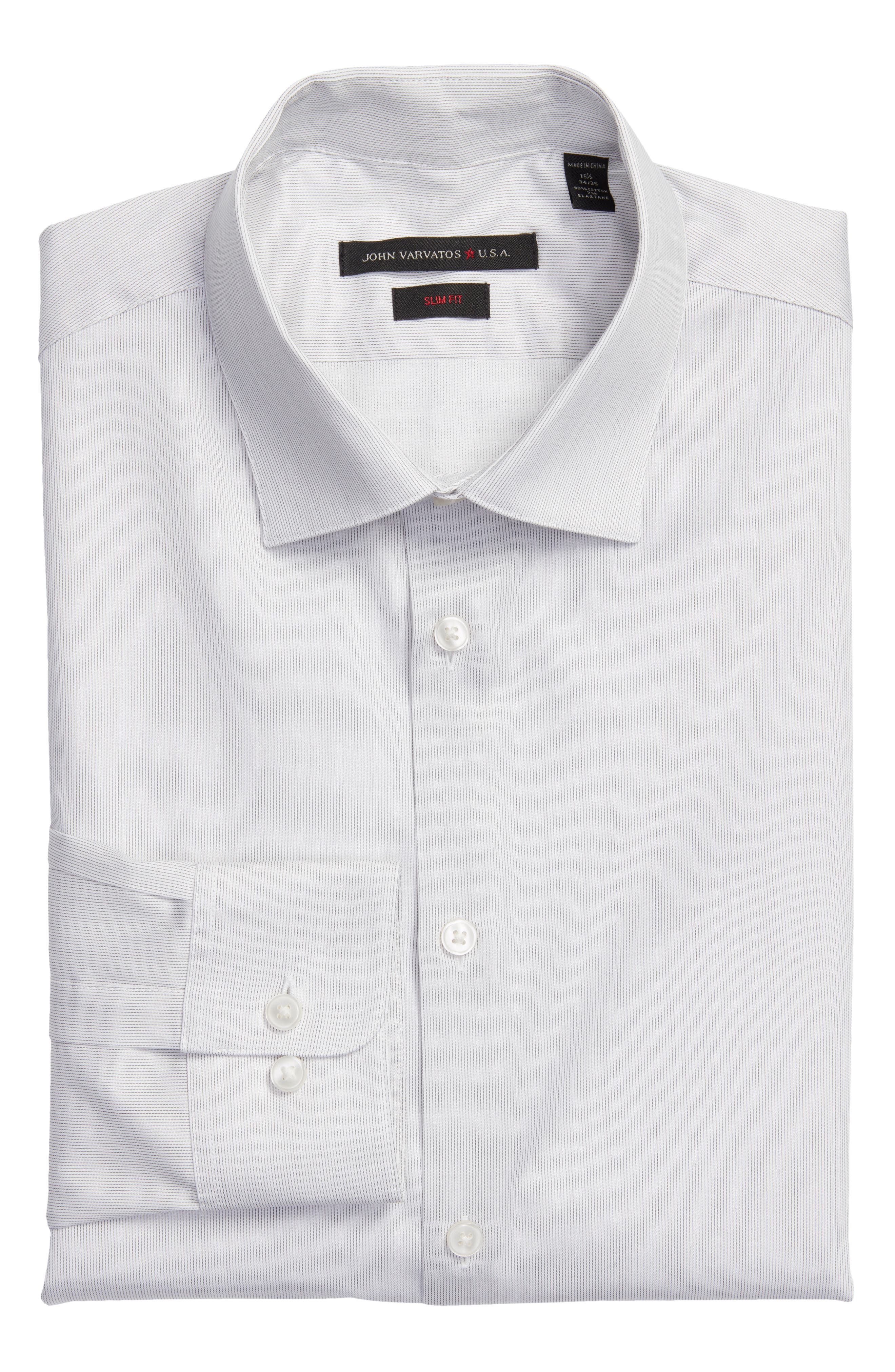 Slim Fit Stripe Stretch Dress Shirt,                         Main,                         color, SMOKE