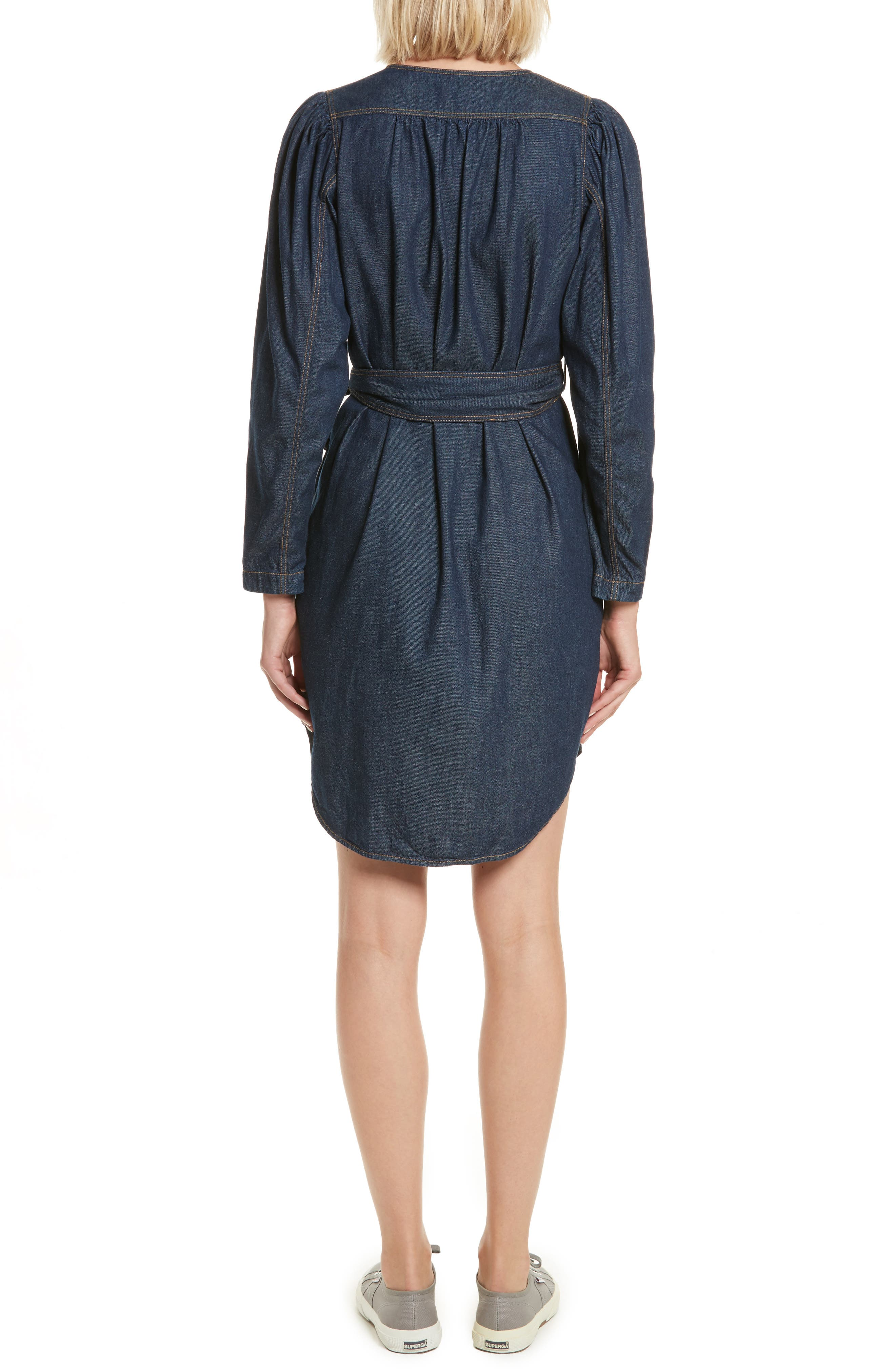 Belted Denim Dress,                             Alternate thumbnail 2, color,                             409