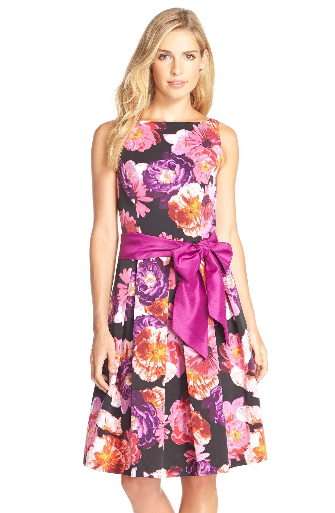 ELIZA J Floral Print Faille Fit& Flare Dress, Main, color, 660