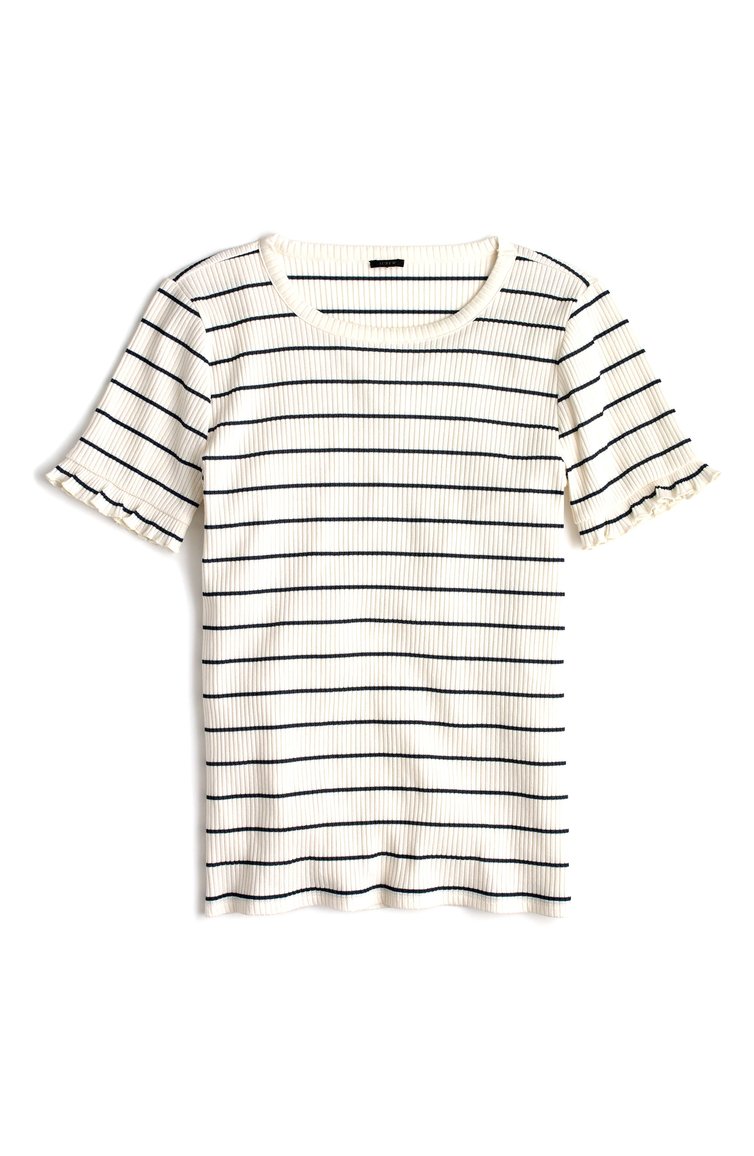 Ribbed Stripe Tee with Ruffle Sleeves,                             Main thumbnail 3, color,