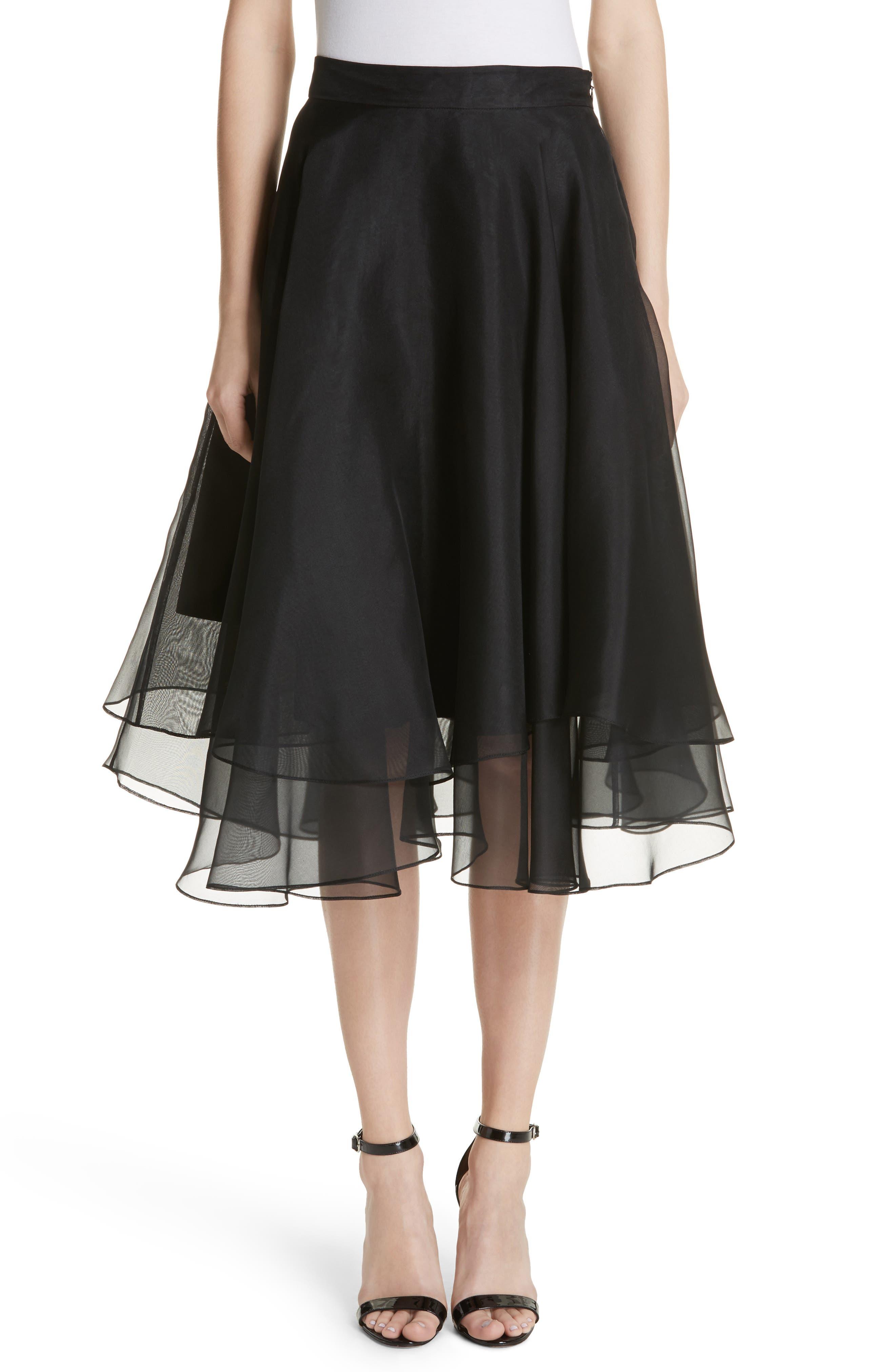 Layered Organza A-Line Skirt,                             Main thumbnail 1, color,                             001