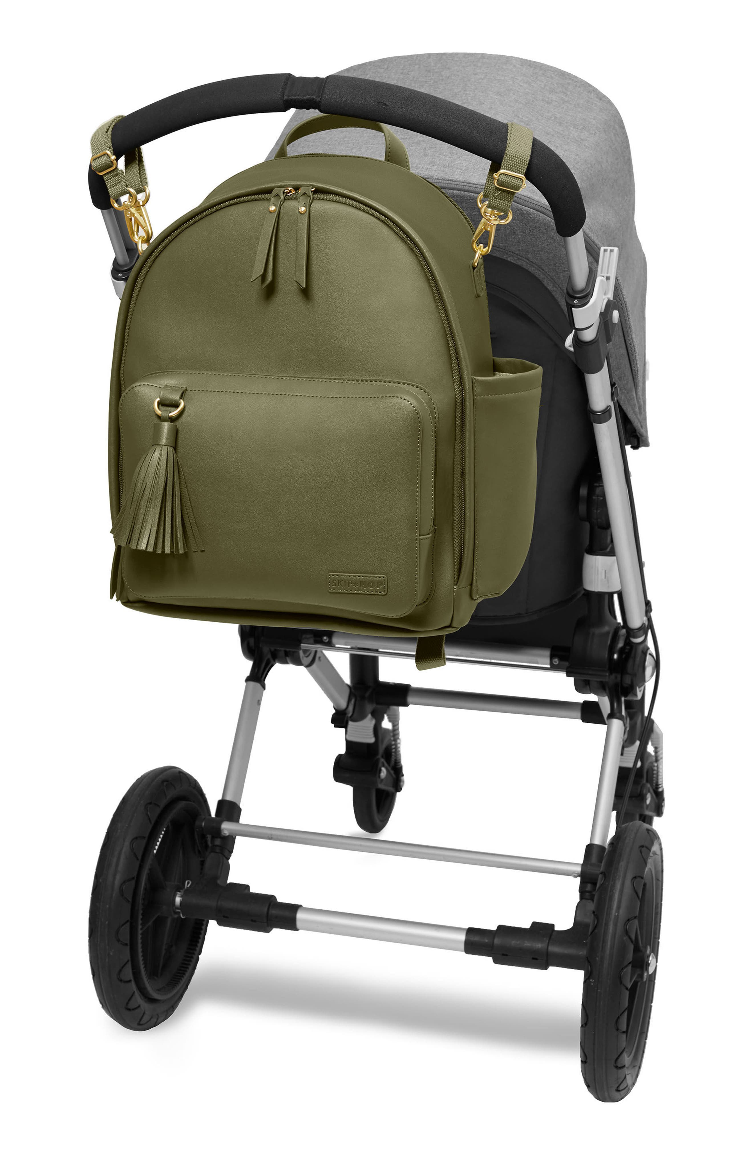 SKIP HOP,                             Greenwich Simply Chic Diaper Backpack,                             Alternate thumbnail 5, color,                             OLIVE