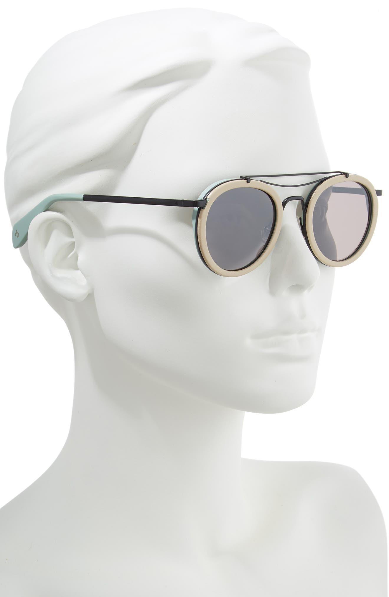 55mm Round Aviator Sunglasses,                             Alternate thumbnail 2, color,                             MATTE BLACK BEIGE