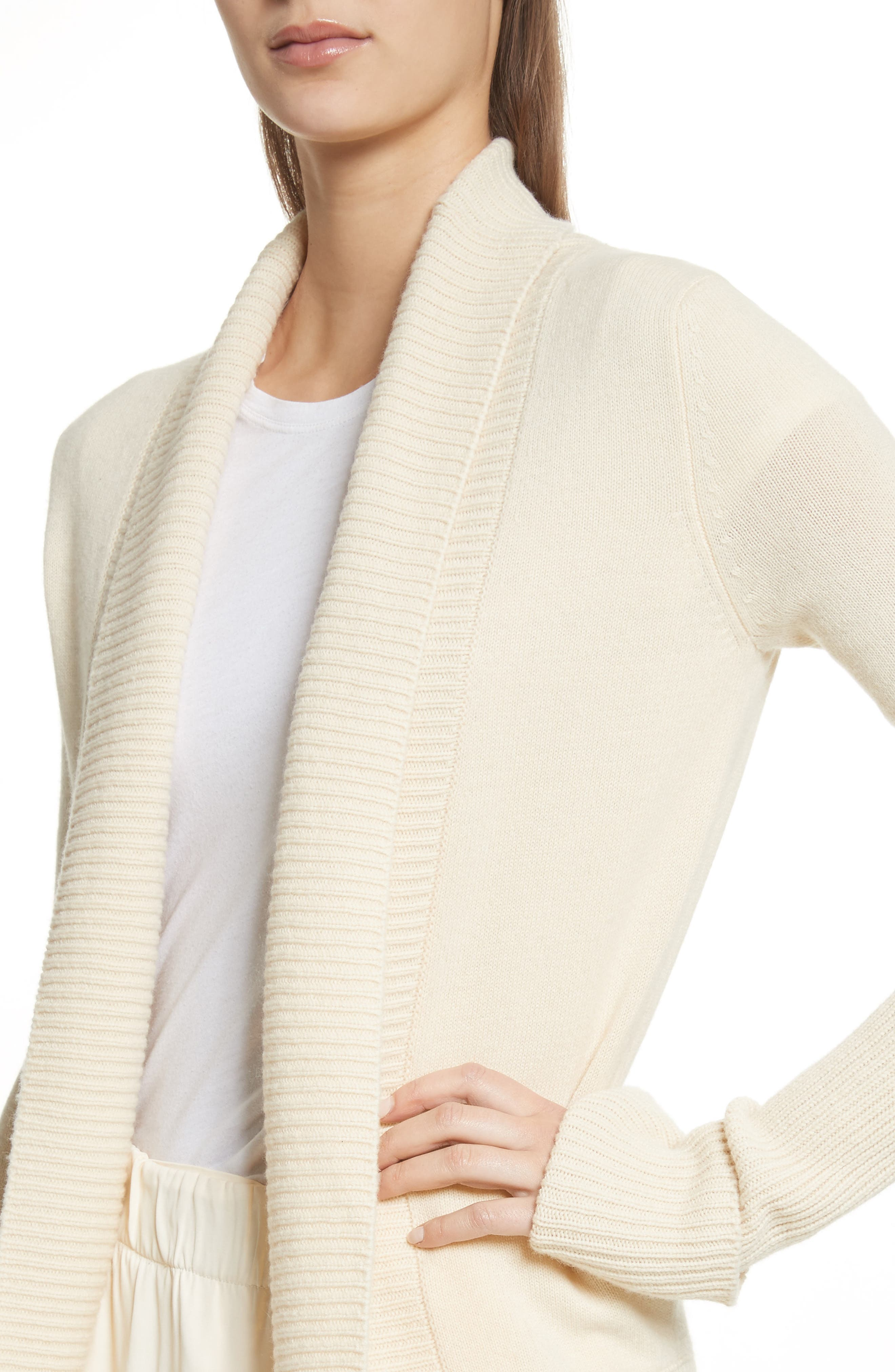 Wide Collar Cashmere Cardigan,                             Alternate thumbnail 4, color,                             252