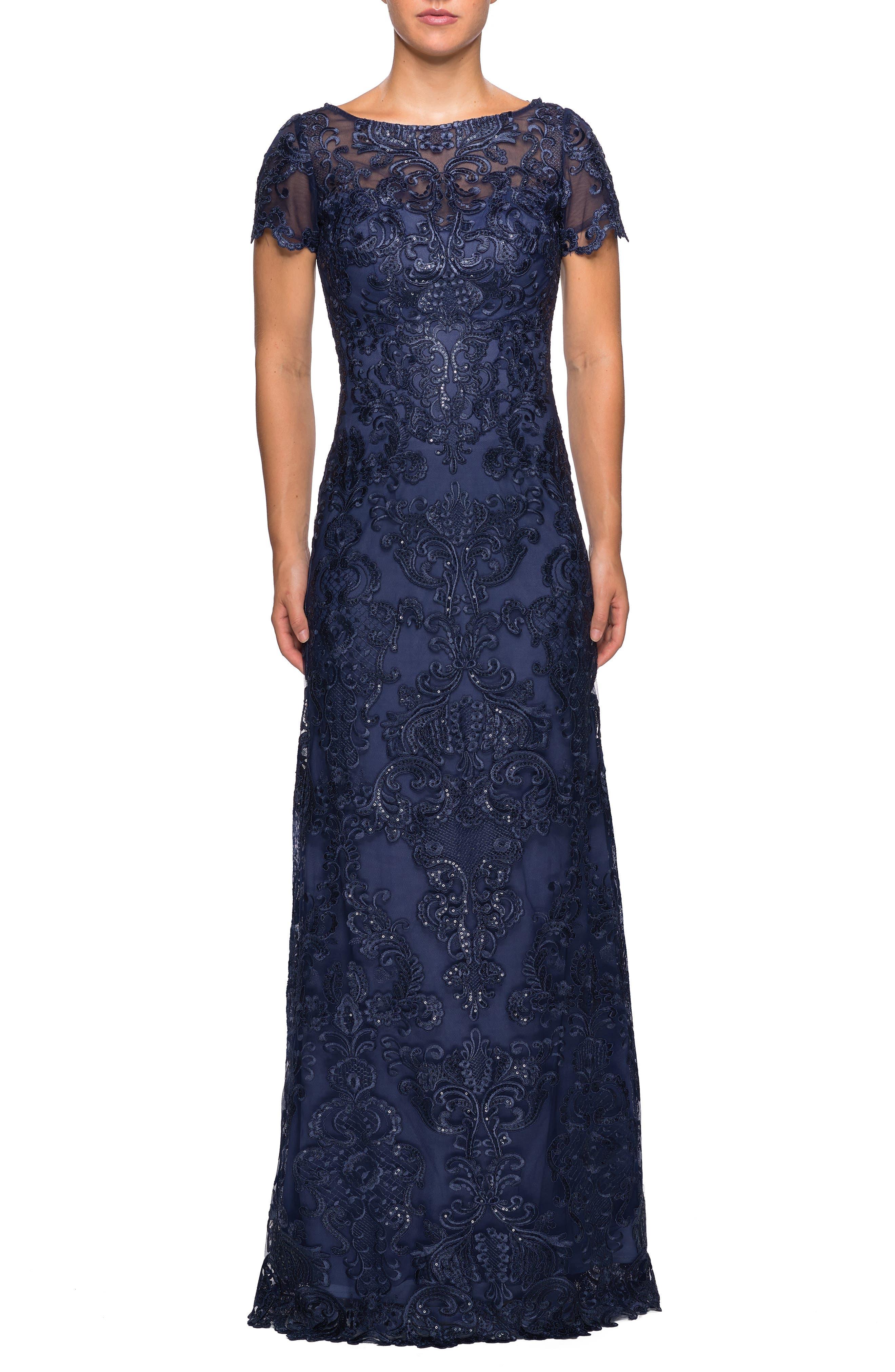 LA FEMME Sequin Embroidered Column Dress in Navy