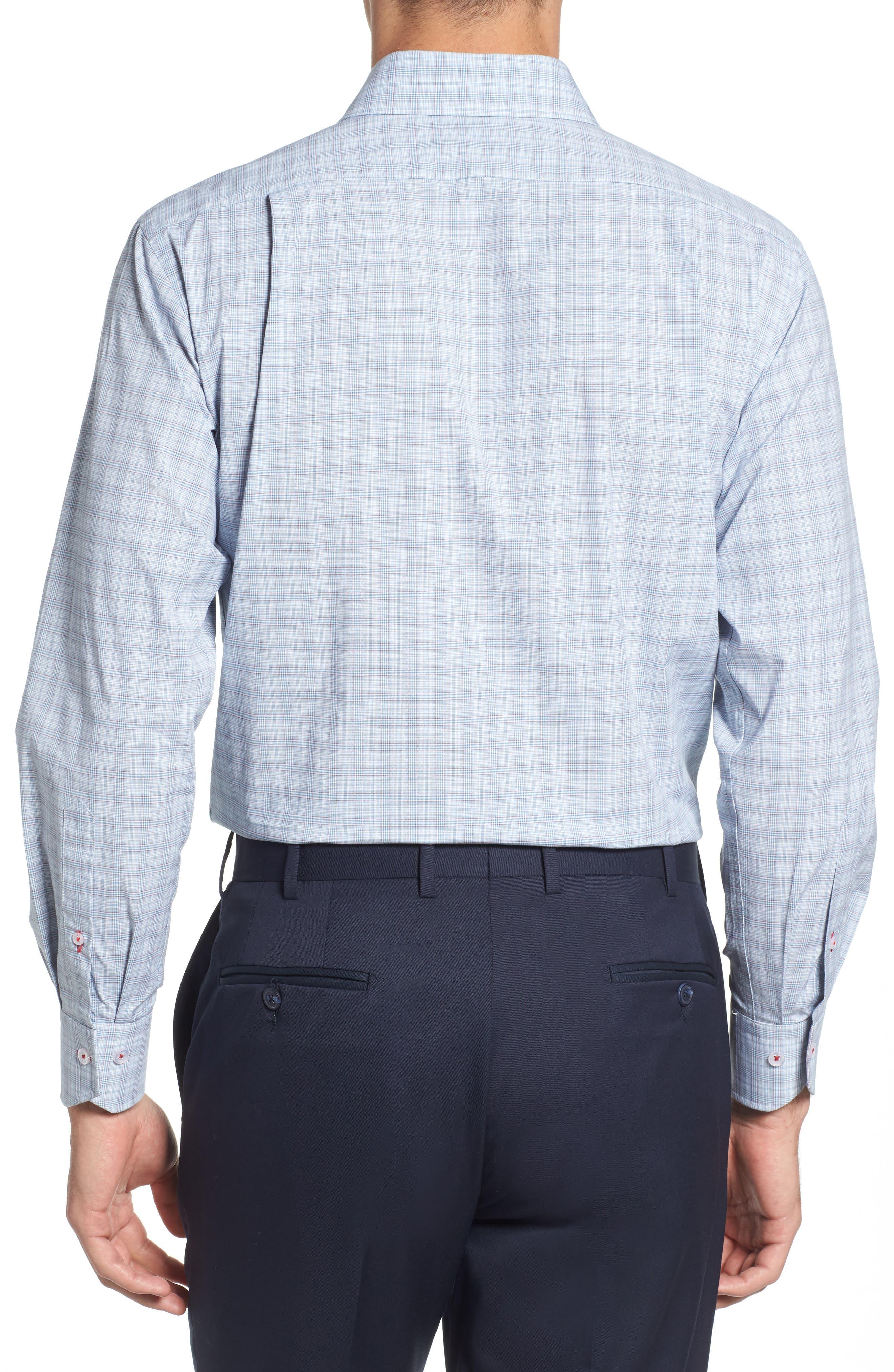 Trim Fit Plaid Dress Shirt,                             Alternate thumbnail 3, color,                             BLUE/ RED