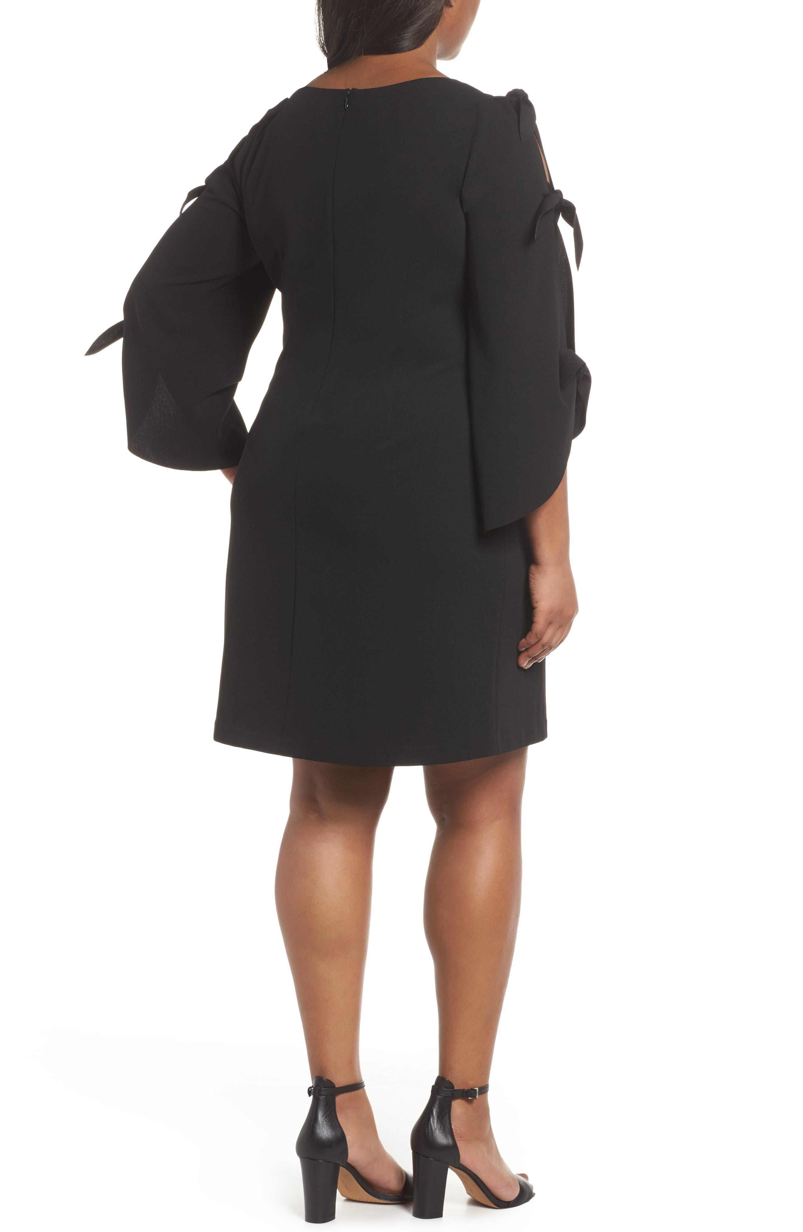 Tie Bell Sleeve Ponte Shift Dress,                             Alternate thumbnail 2, color,                             001