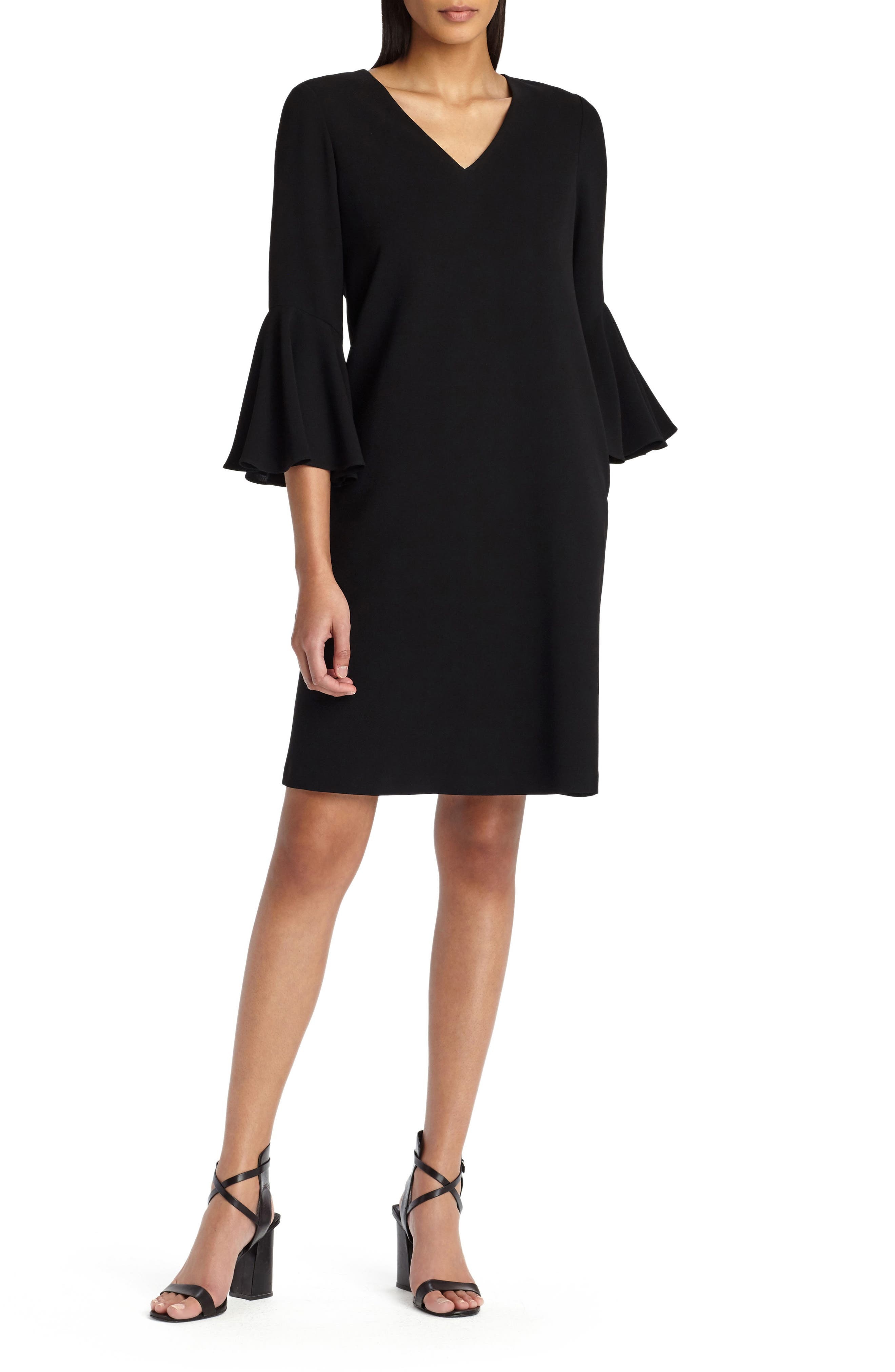 Holly Bell Sleeve Dress,                         Main,                         color, BLACK