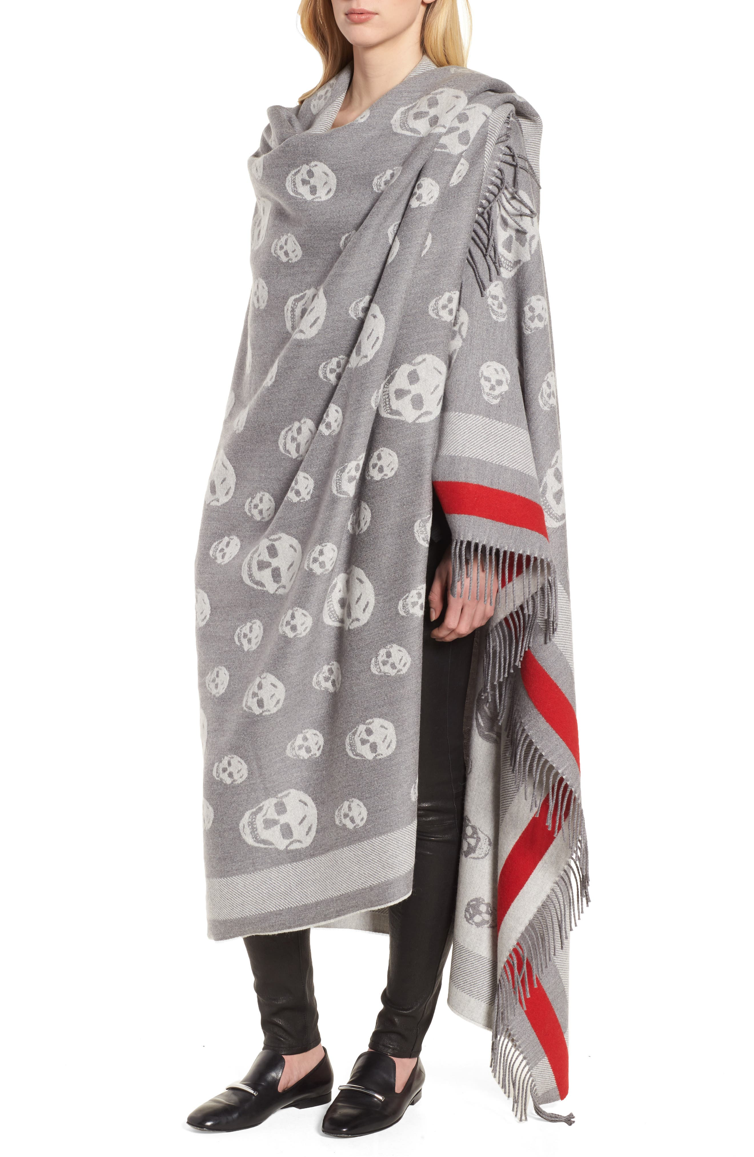 Skull Wool & Cashmere Scarf,                             Alternate thumbnail 4, color,                             020