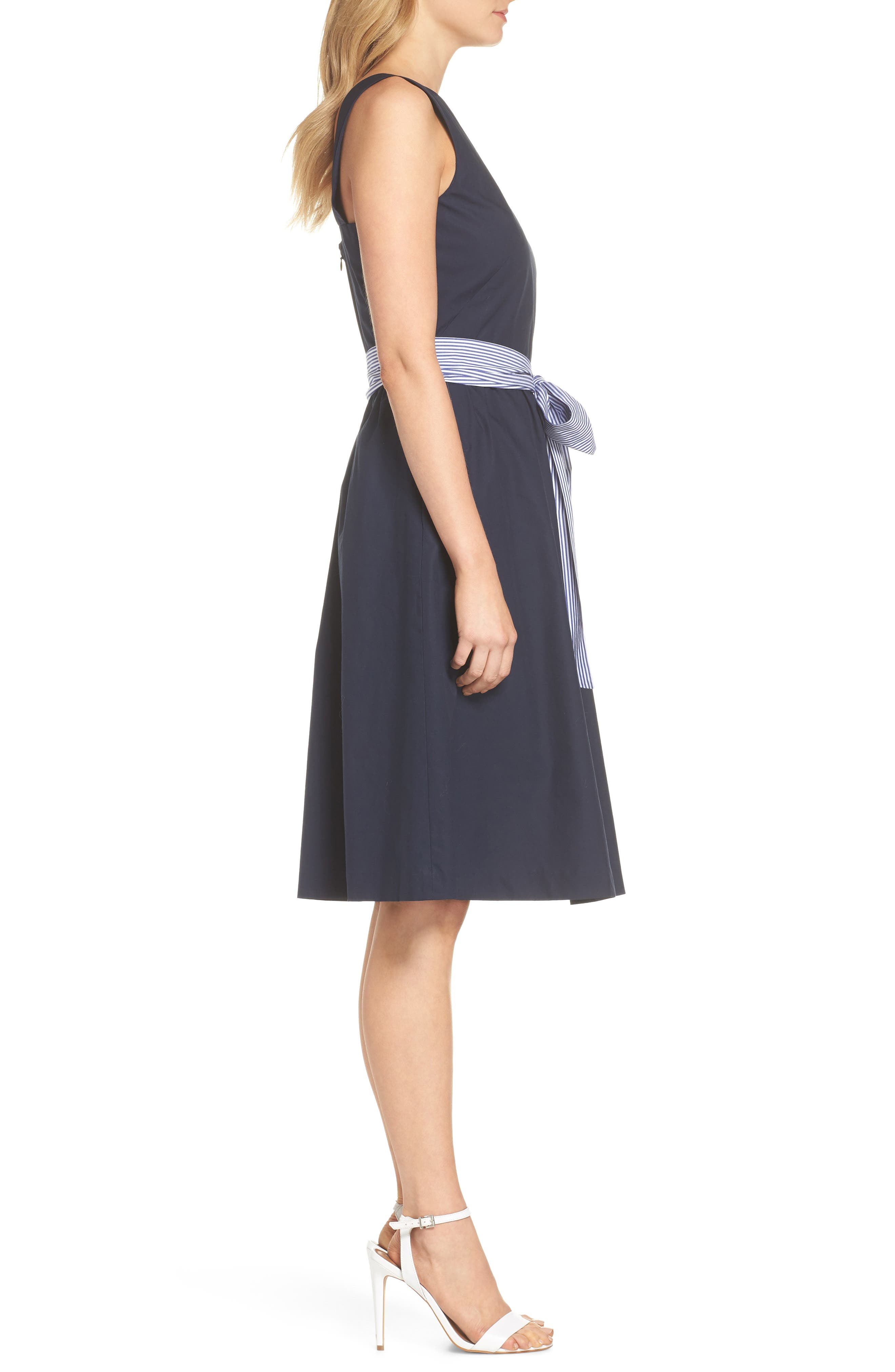 Two-Tone Tie Waist Sheath Dress,                             Alternate thumbnail 3, color,                             401