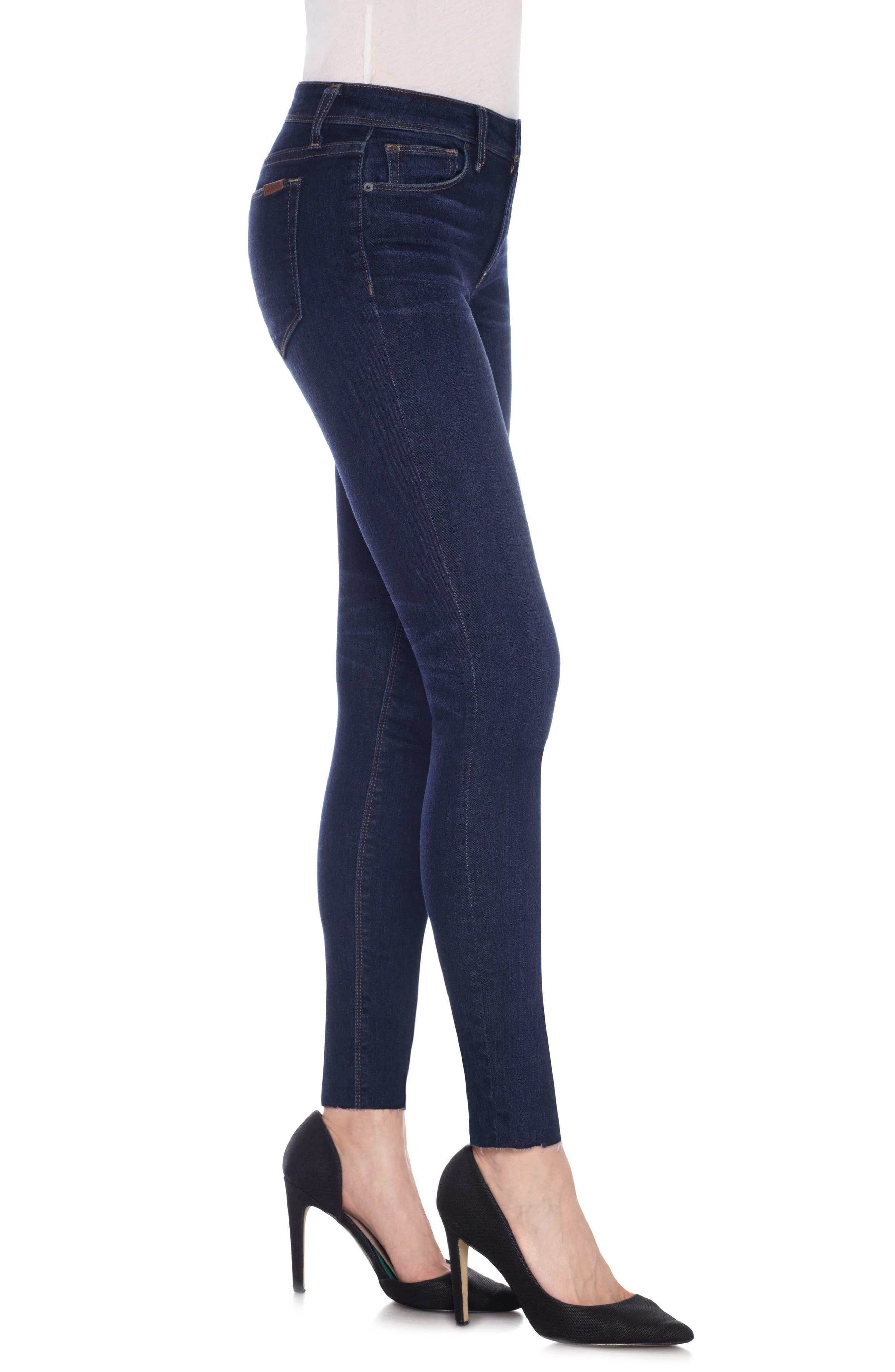 Icon Ankle Raw Hem Skinny Jeans,                             Alternate thumbnail 3, color,                             400