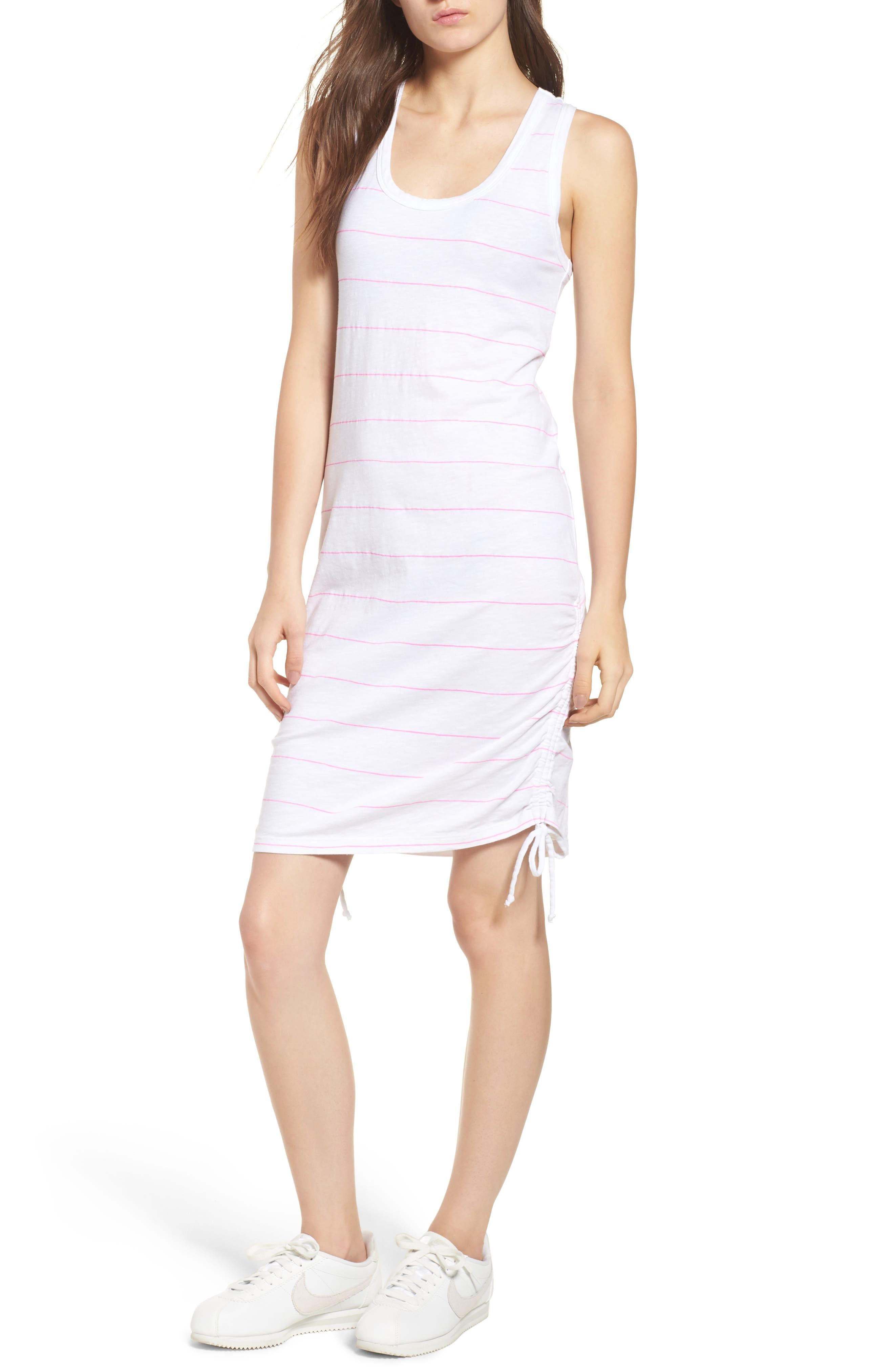 Shirred Racerback Dress,                         Main,                         color, WHITE