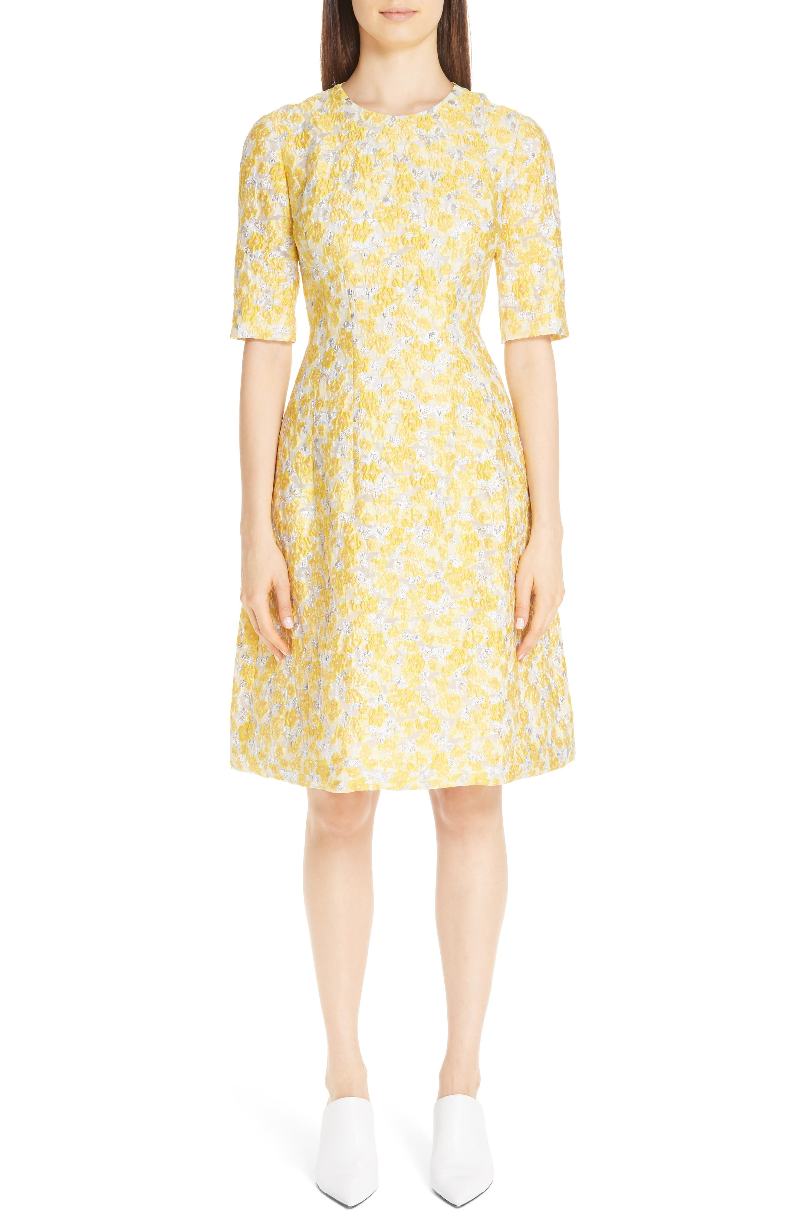 Lela Rose Holly Metallic Floral Fil Coupe Fit & Flare Dress, Yellow