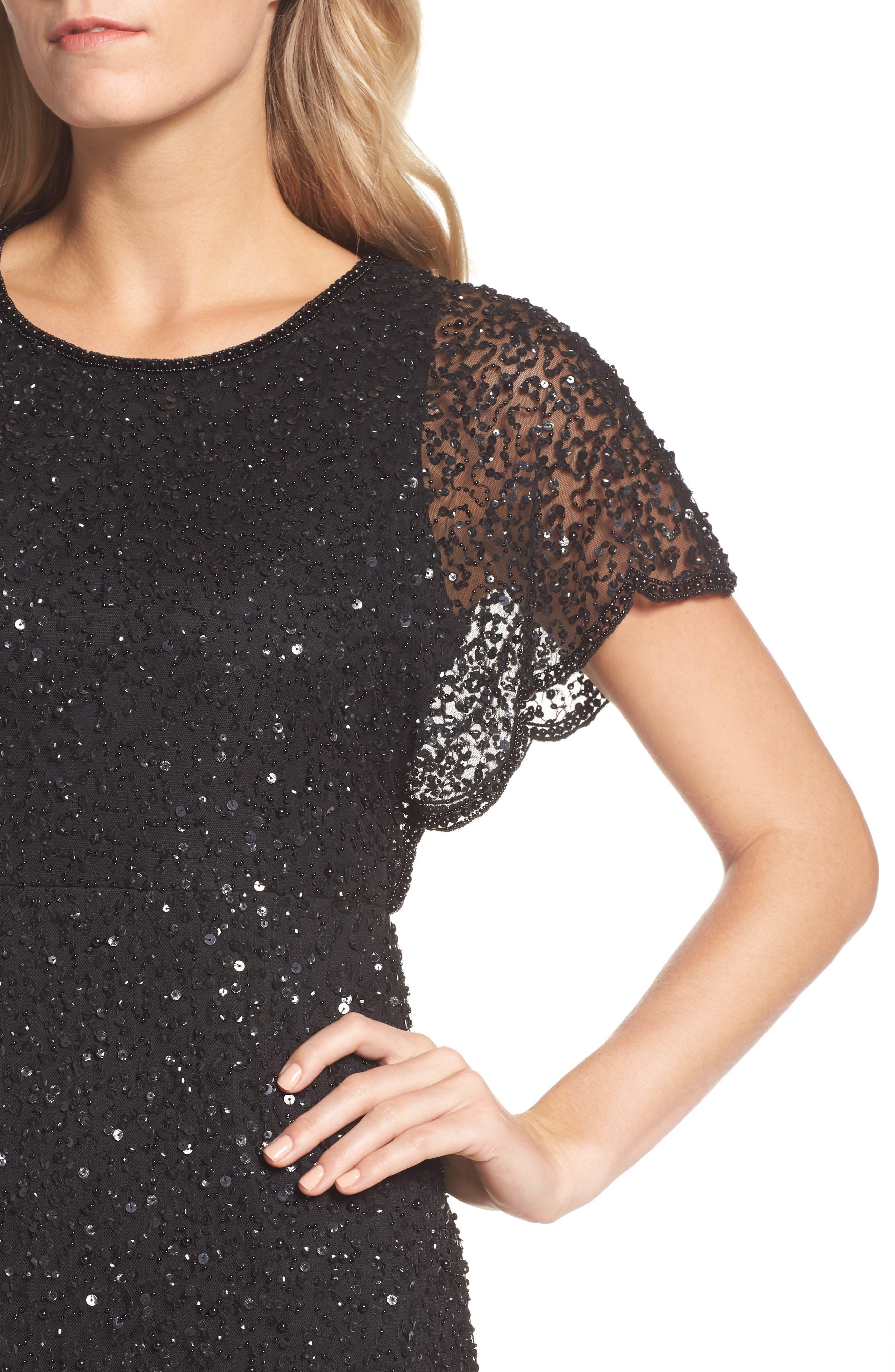 Embellished Flutter Sleeve Cocktail Dress,                             Alternate thumbnail 4, color,                             002