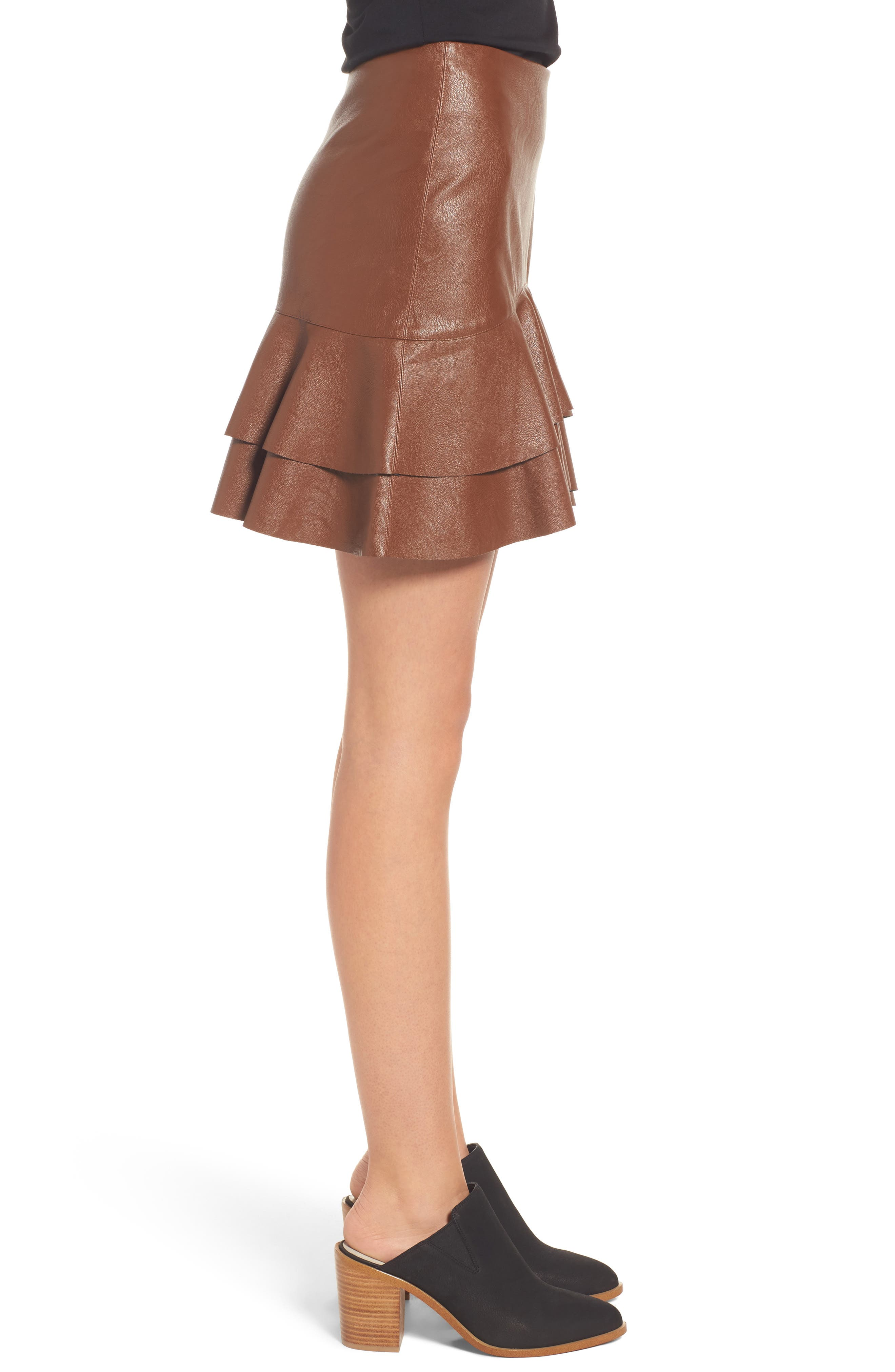 Ruffle Hem Faux Leather Skirt,                             Alternate thumbnail 3, color,
