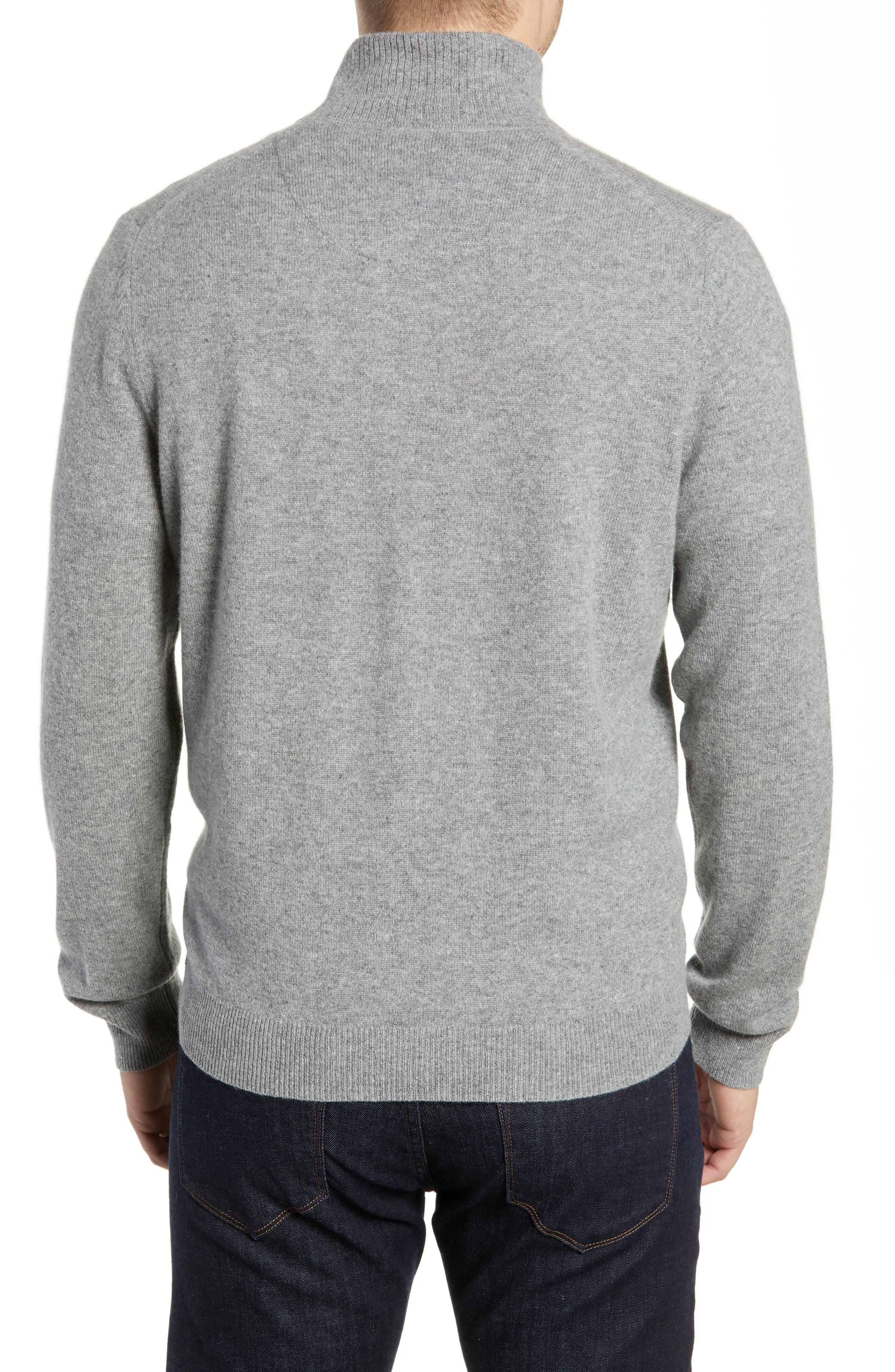 Regular Fit Cashmere Quarter Zip Pullover,                             Alternate thumbnail 2, color,                             GREY DRIFTWOOD