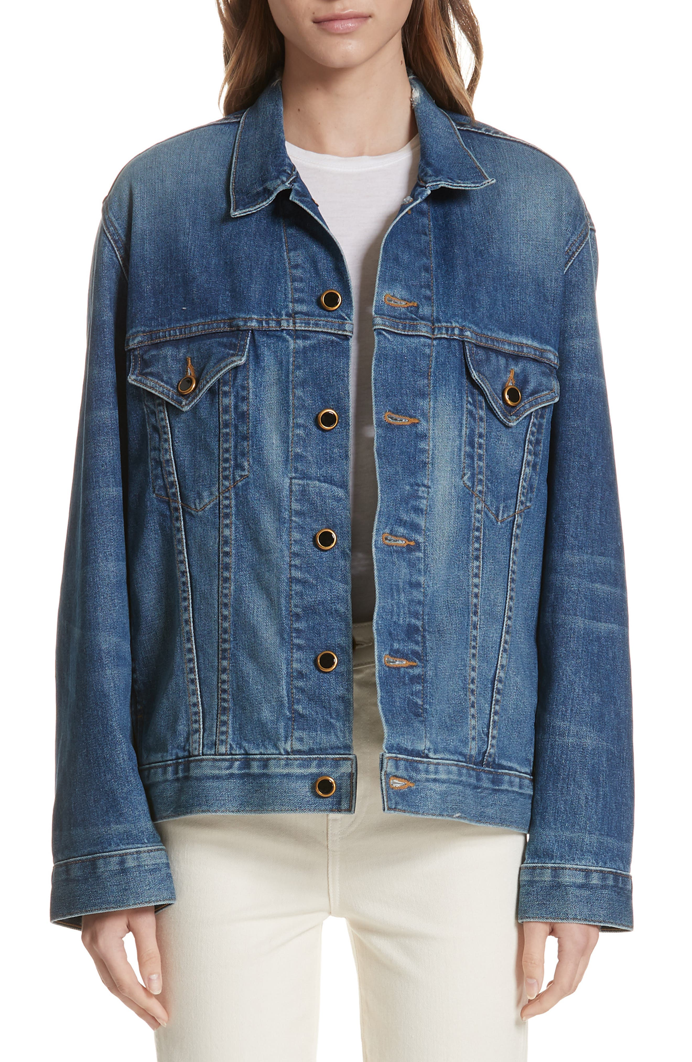 Cate Oversize Denim Jacket,                             Main thumbnail 1, color,                             FLORENCE