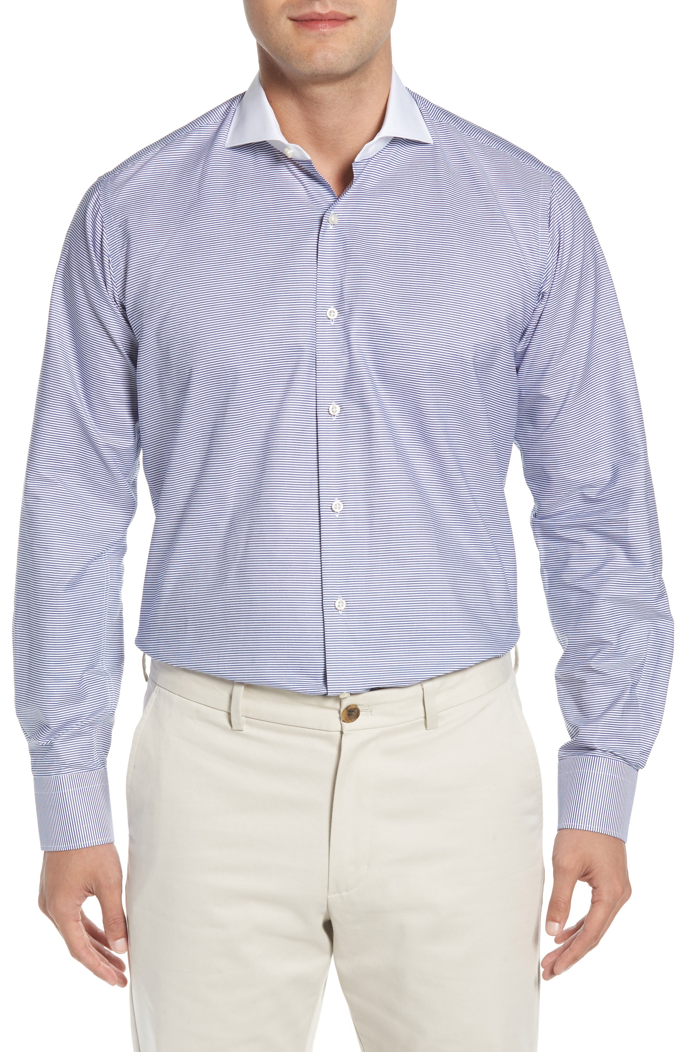Regular Fit Stripe Dress Shirt,                             Main thumbnail 1, color,                             400