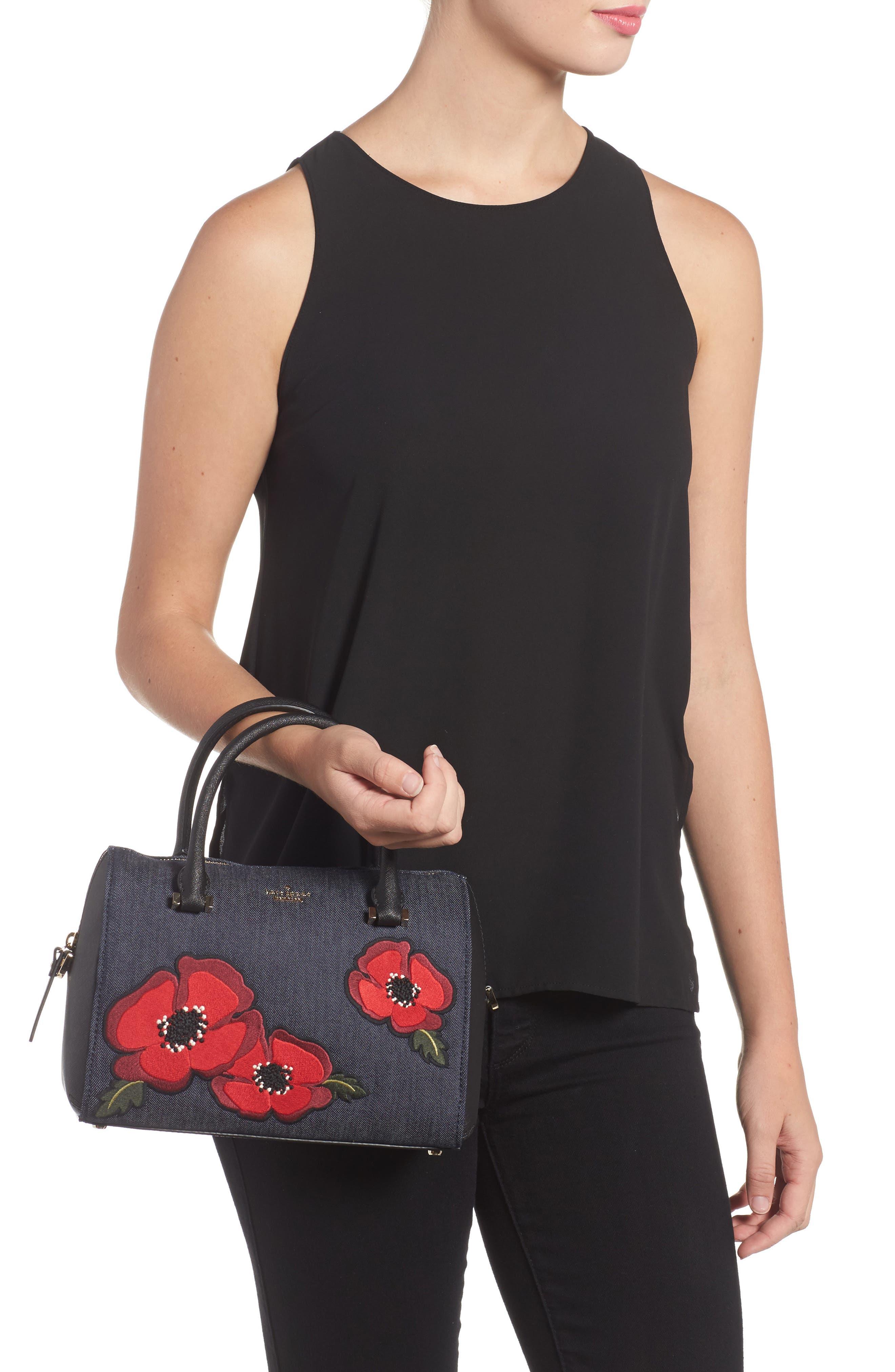 cameron street poppy large lane embroidered denim satchel,                             Alternate thumbnail 2, color,                             400