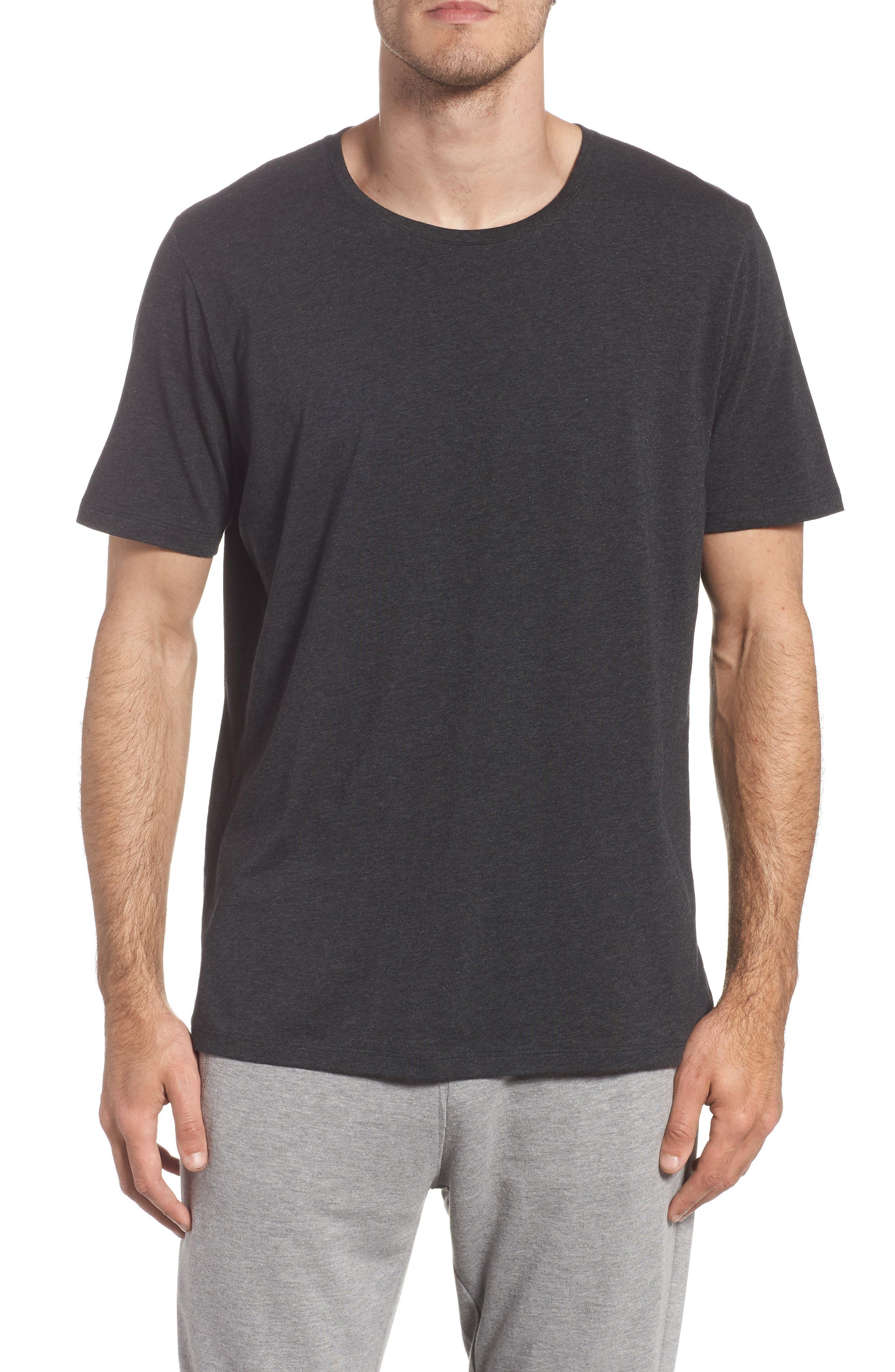 Cotton Blend Crewneck T-Shirt,                         Main,                         color, HEATHER CHARCOAL