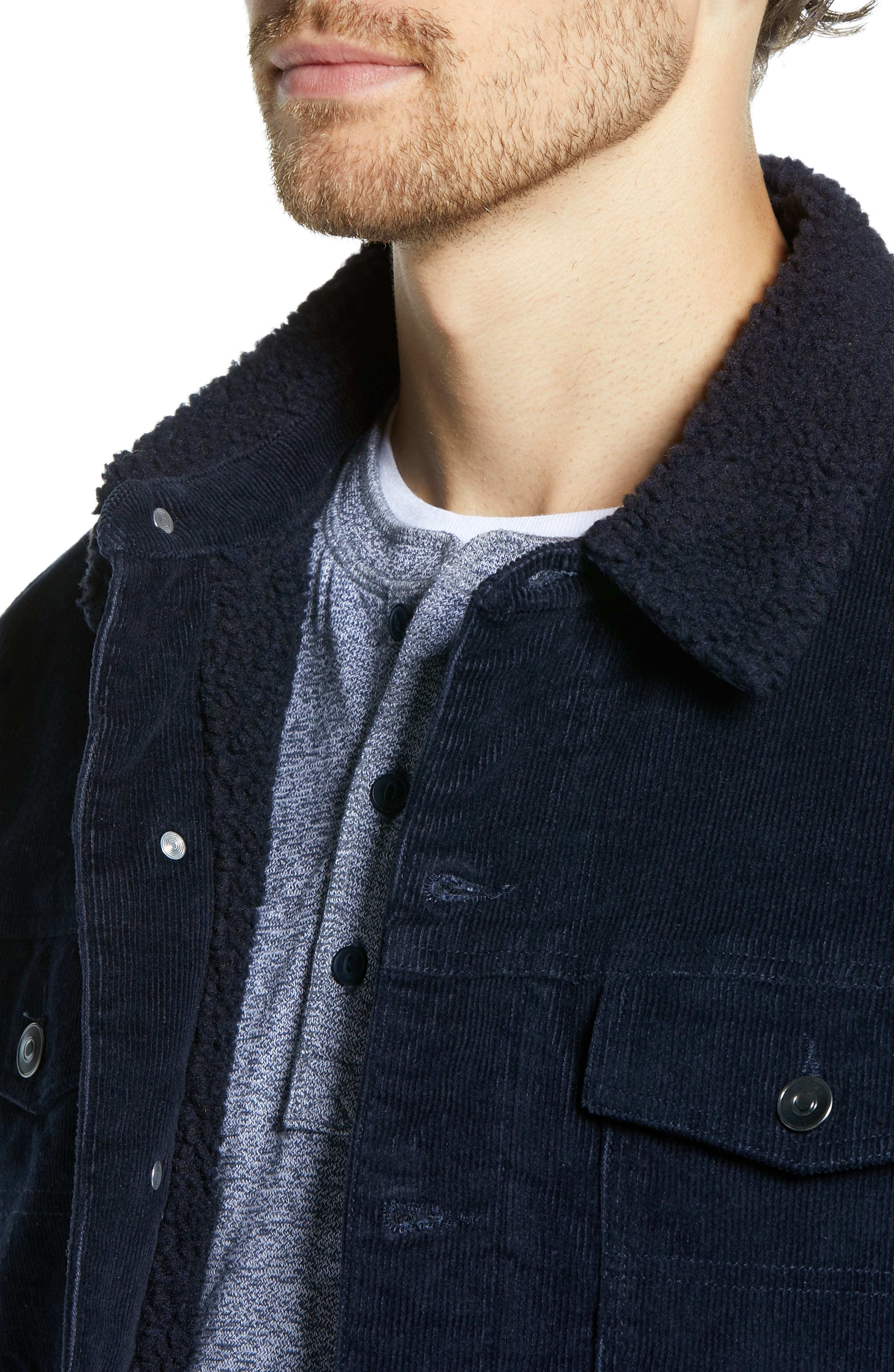Regular Fit Faux Shearling Trim Corduroy Trucker Jacket,                             Alternate thumbnail 4, color,                             NAVY NIGHT