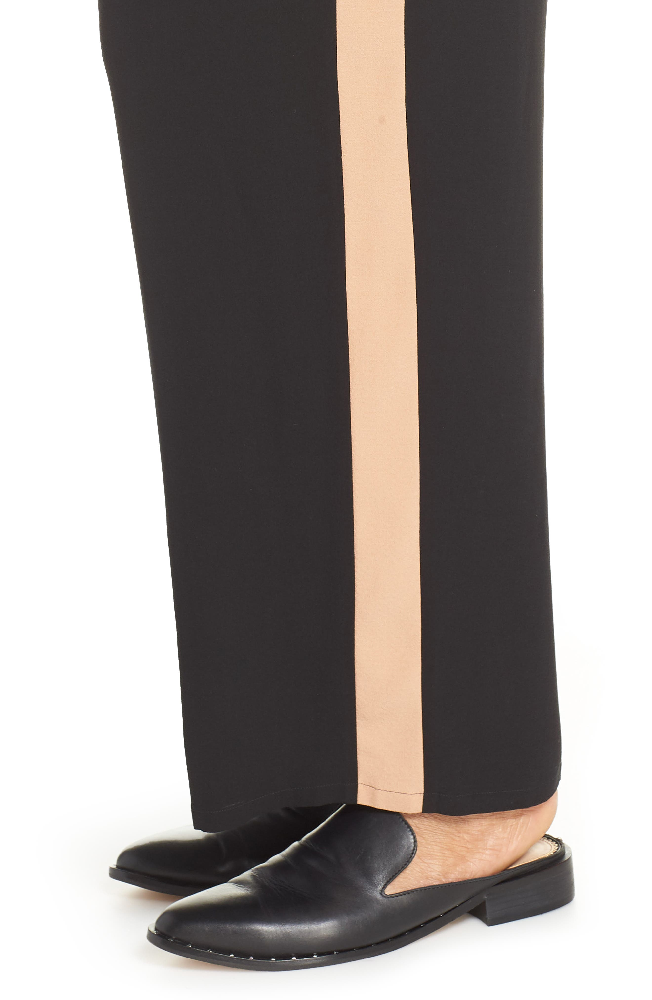 High Rise Side Stripe Silk Pants,                             Alternate thumbnail 4, color,                             BLACK
