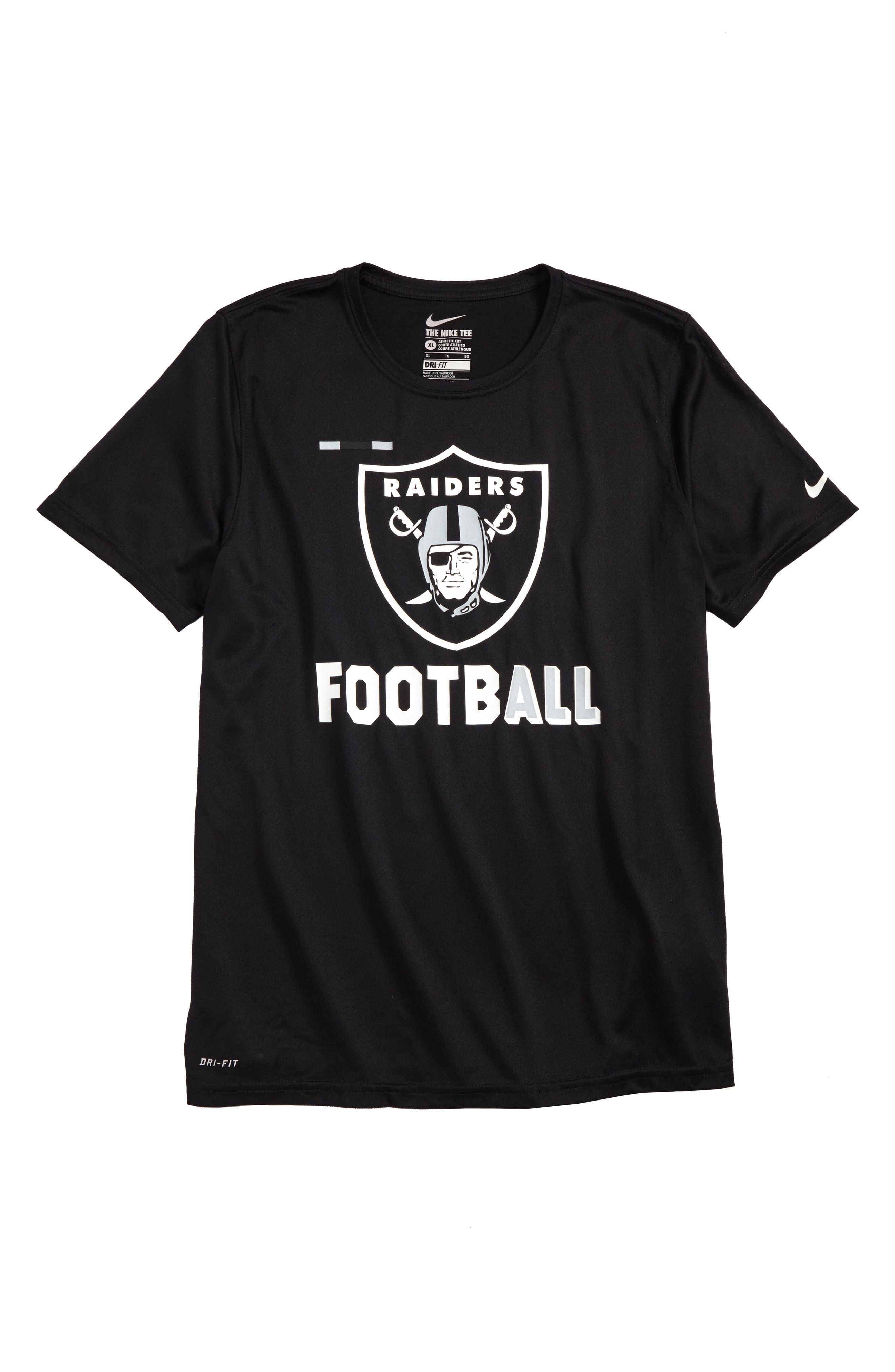 Nike NFL Logo - Oakland Raiders Dry T-Shirt,                             Main thumbnail 1, color,                             001