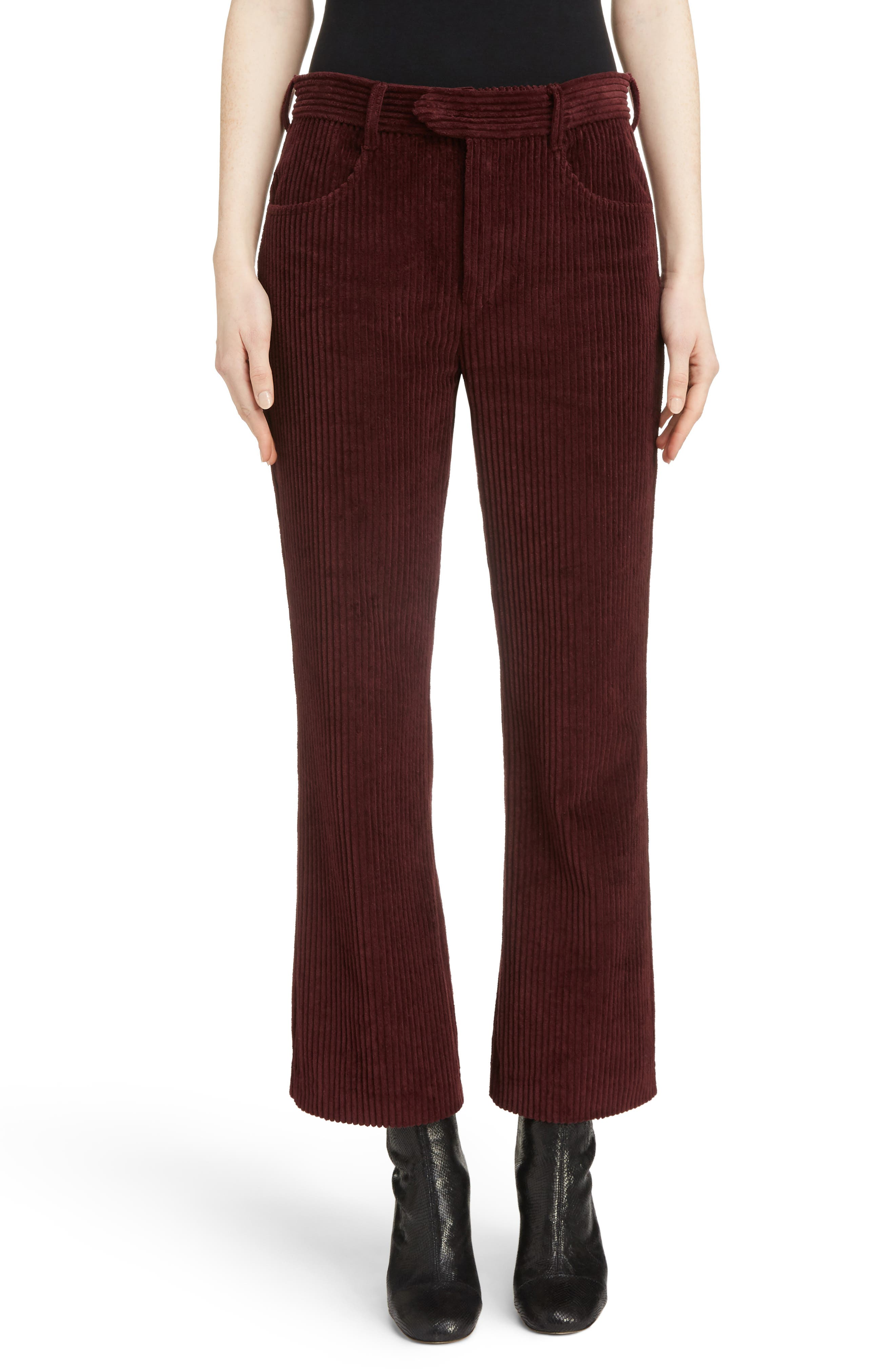 Mereo Velvet Crop Flare Pants, Main, color, 930