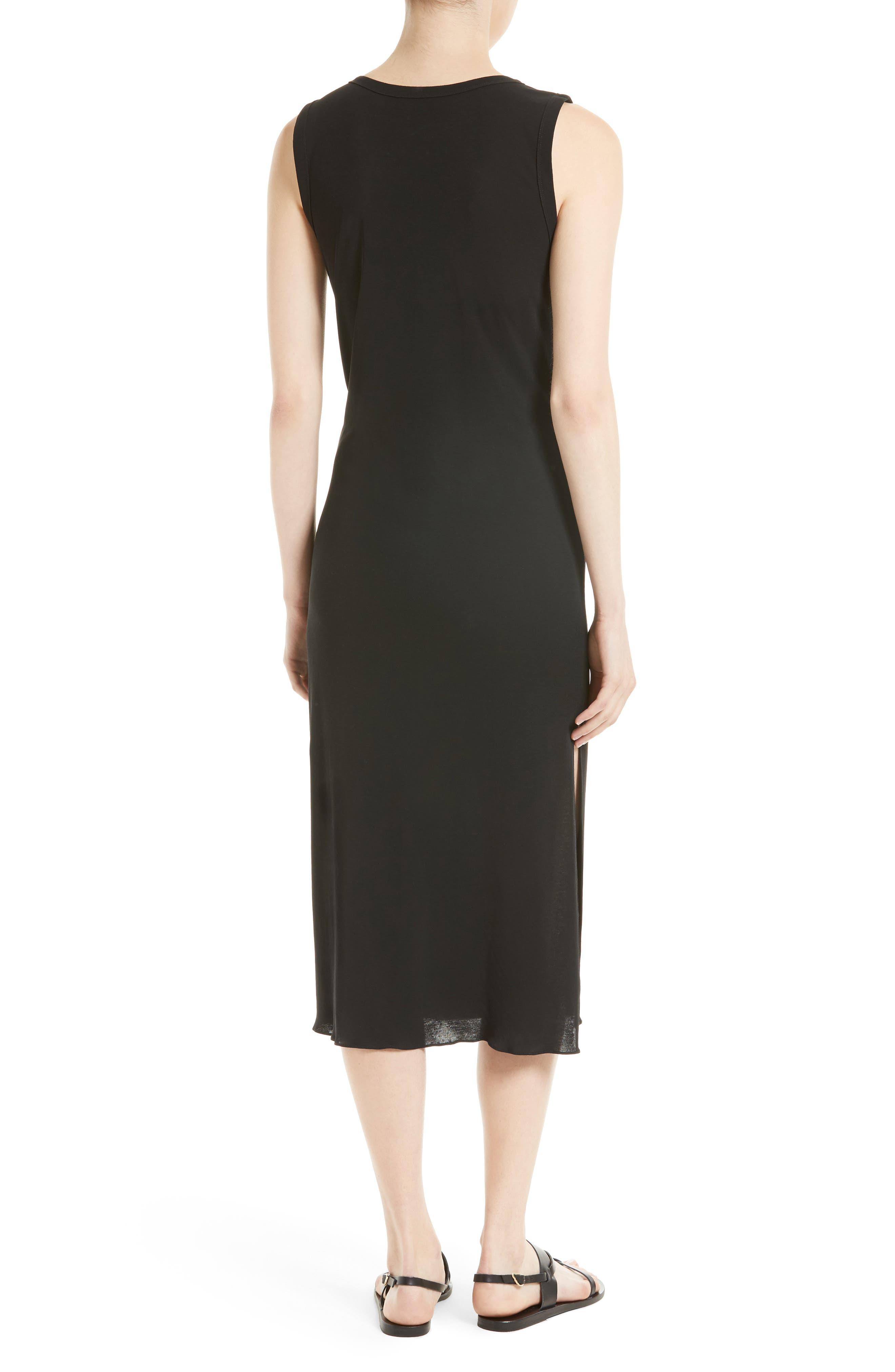 Dorotea K Tie Front Cotton Interlock Dress,                             Alternate thumbnail 2, color,                             001