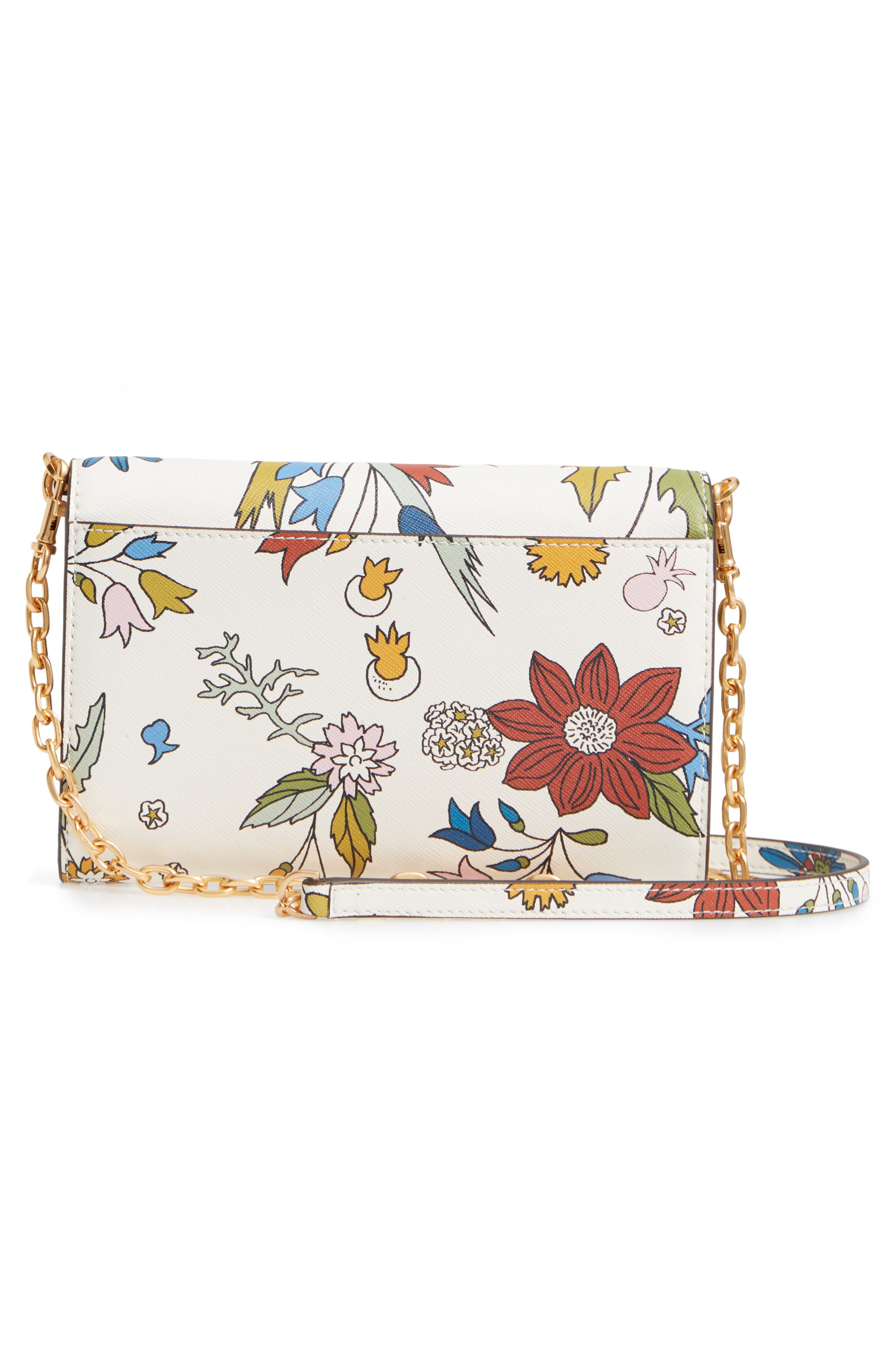 Robinson Floral Leather Wallet on a Chain,                             Alternate thumbnail 3, color,                             IVORY MEADOW SWEET