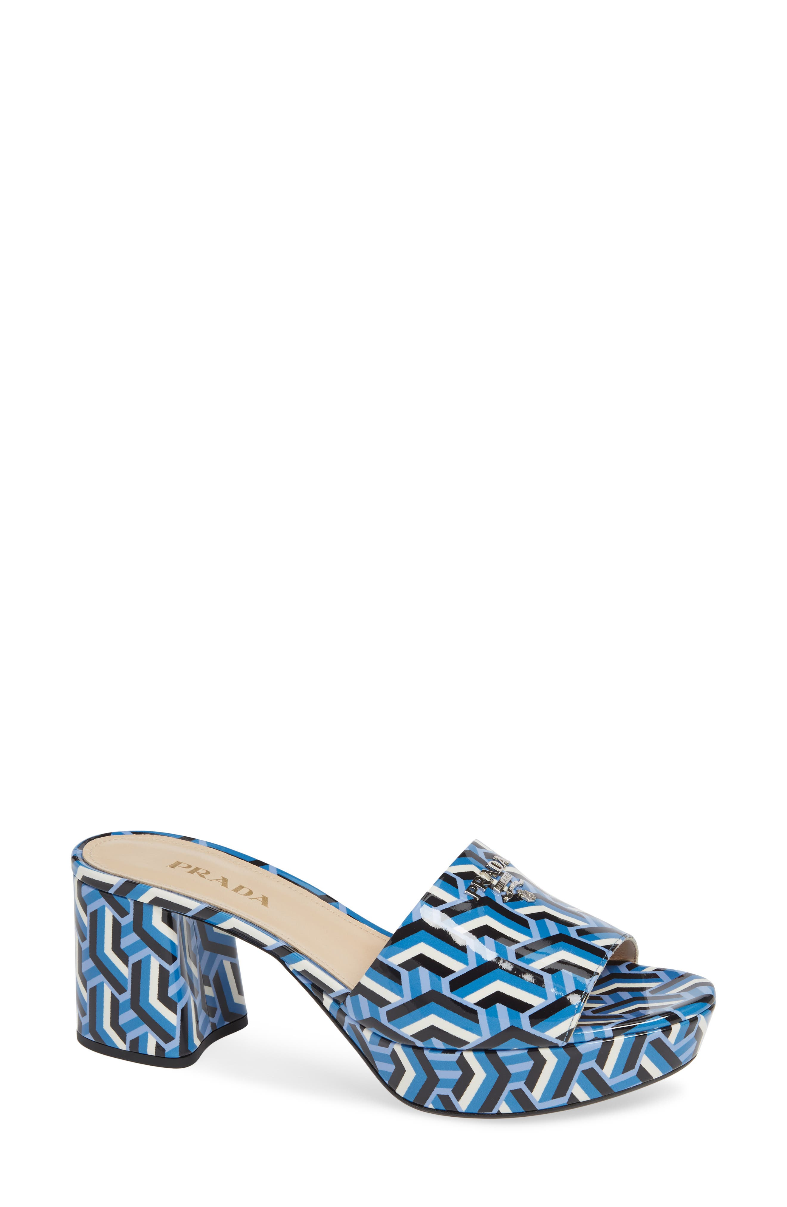 Geo Print Platform Slide,                             Main thumbnail 1, color,                             BLUE PRINT