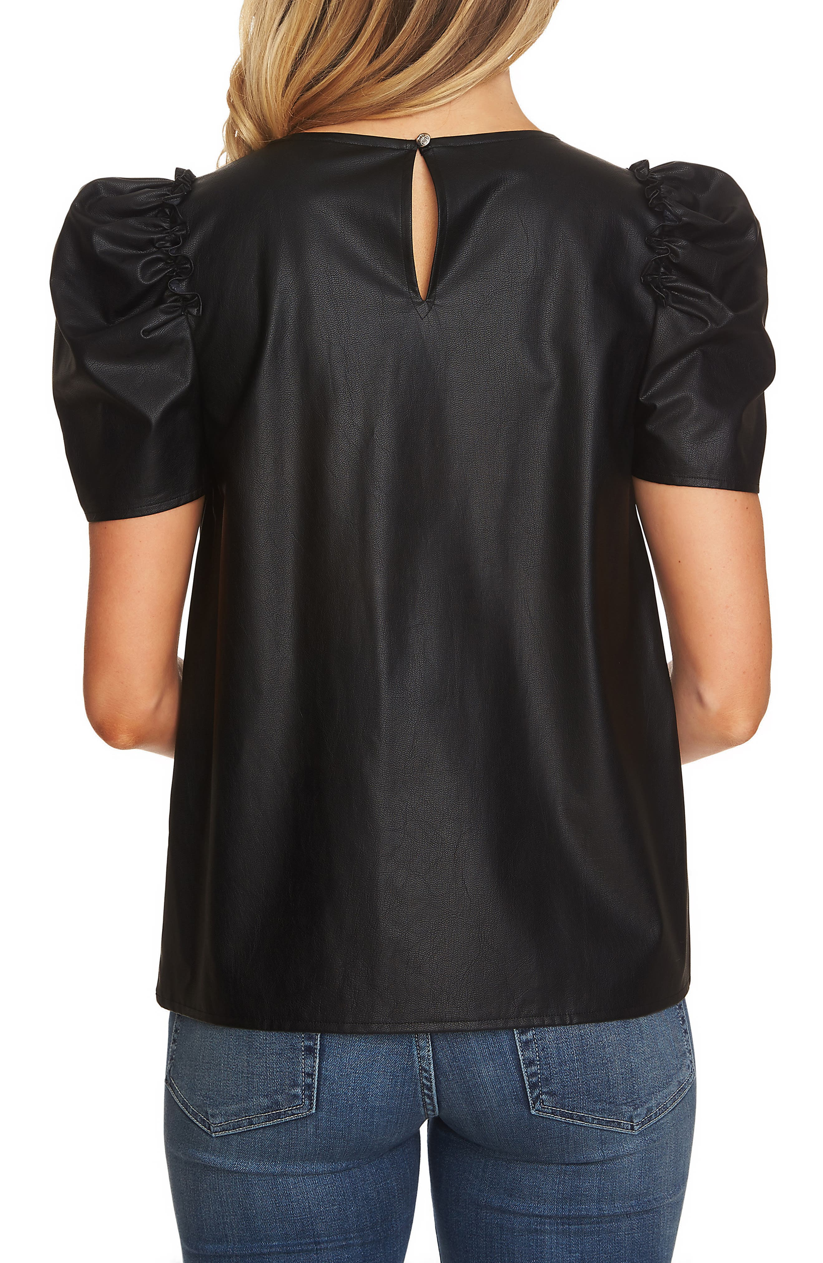 Puff Sleeve Faux Leather Top,                             Alternate thumbnail 2, color,                             RICH BLACK