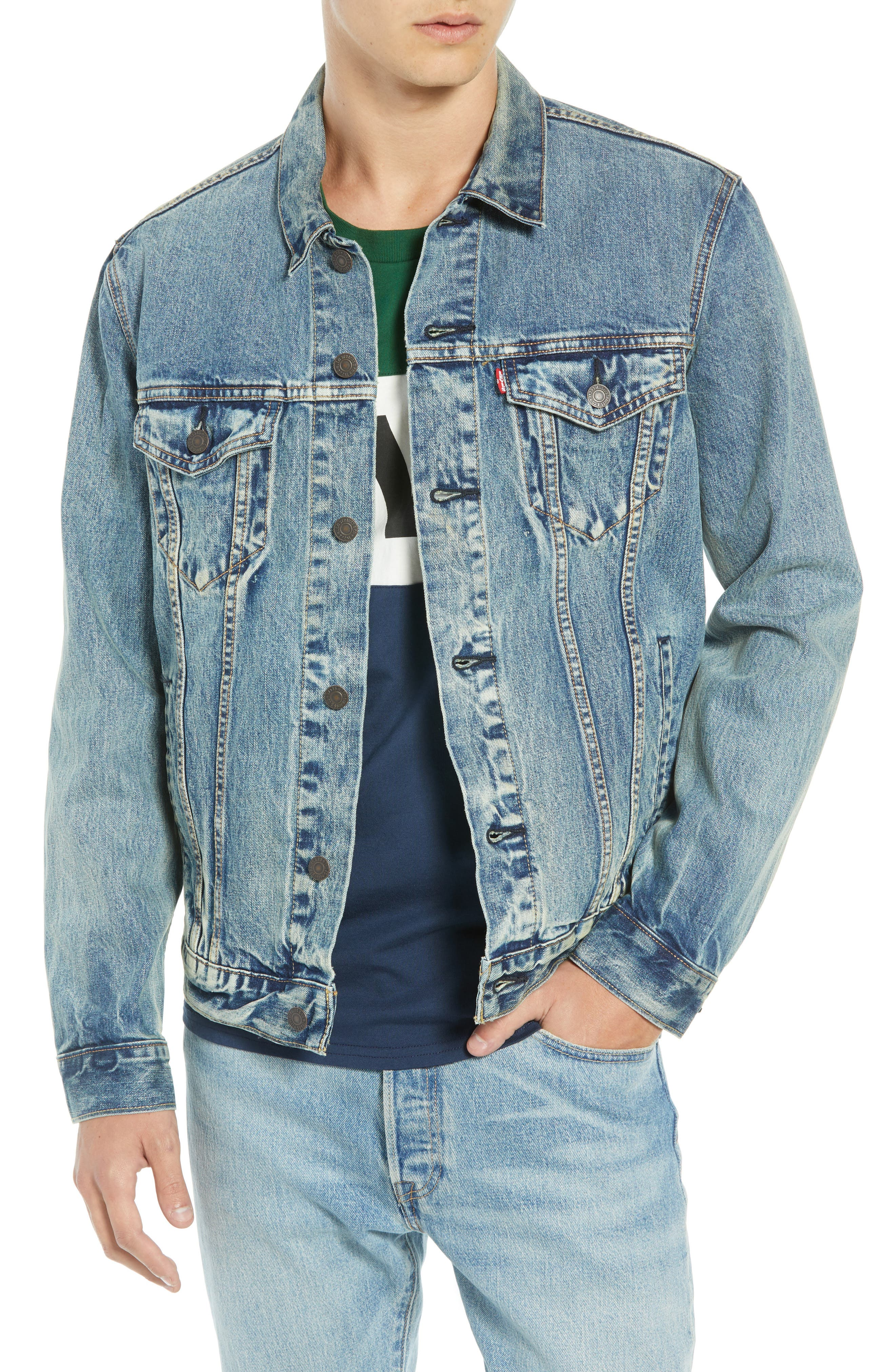 The Trucker Denim Jacket,                         Main,                         color, 420