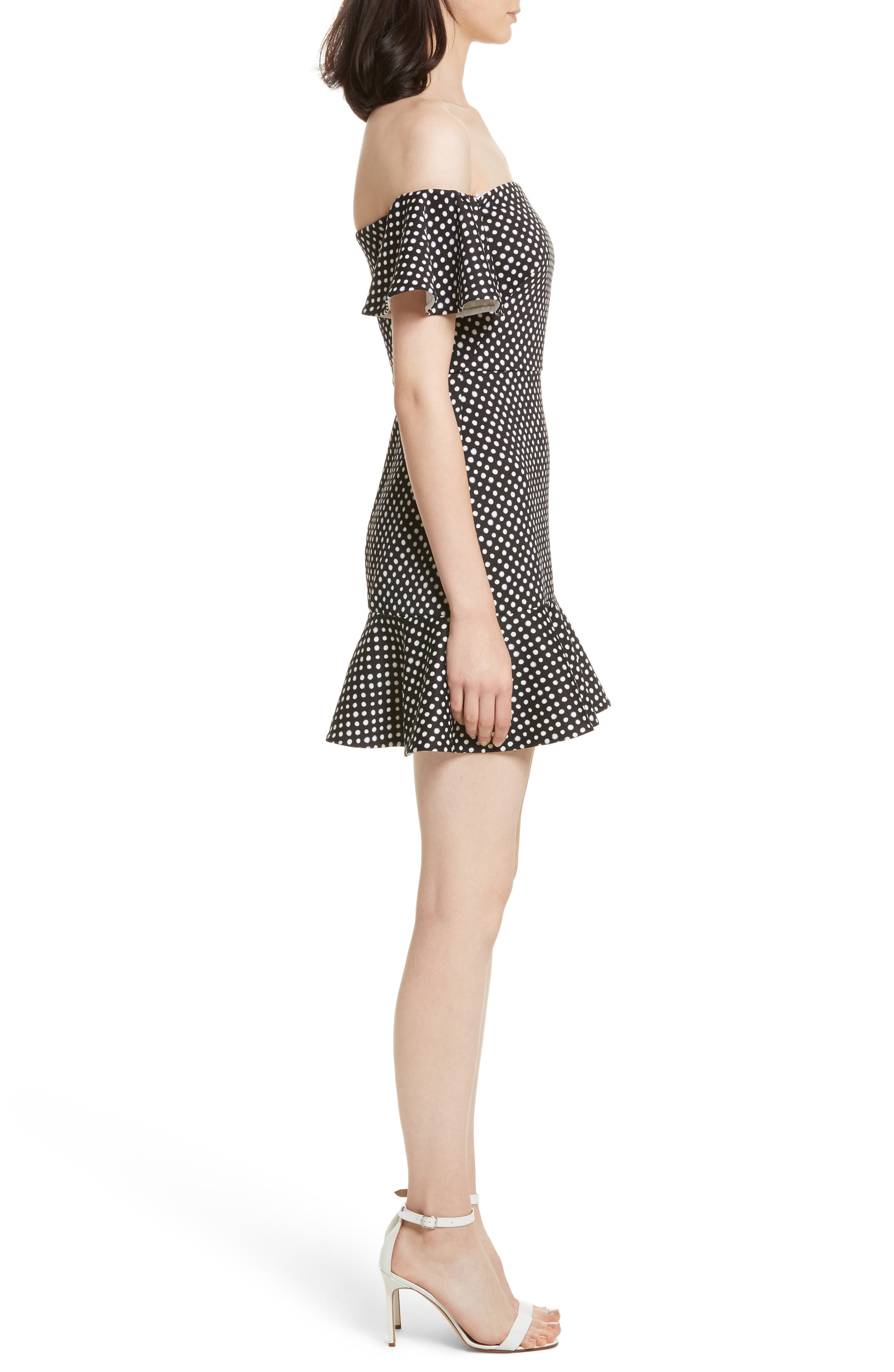 Amelia Polka Dot Print Off the Shoulder Dress,                             Alternate thumbnail 3, color,