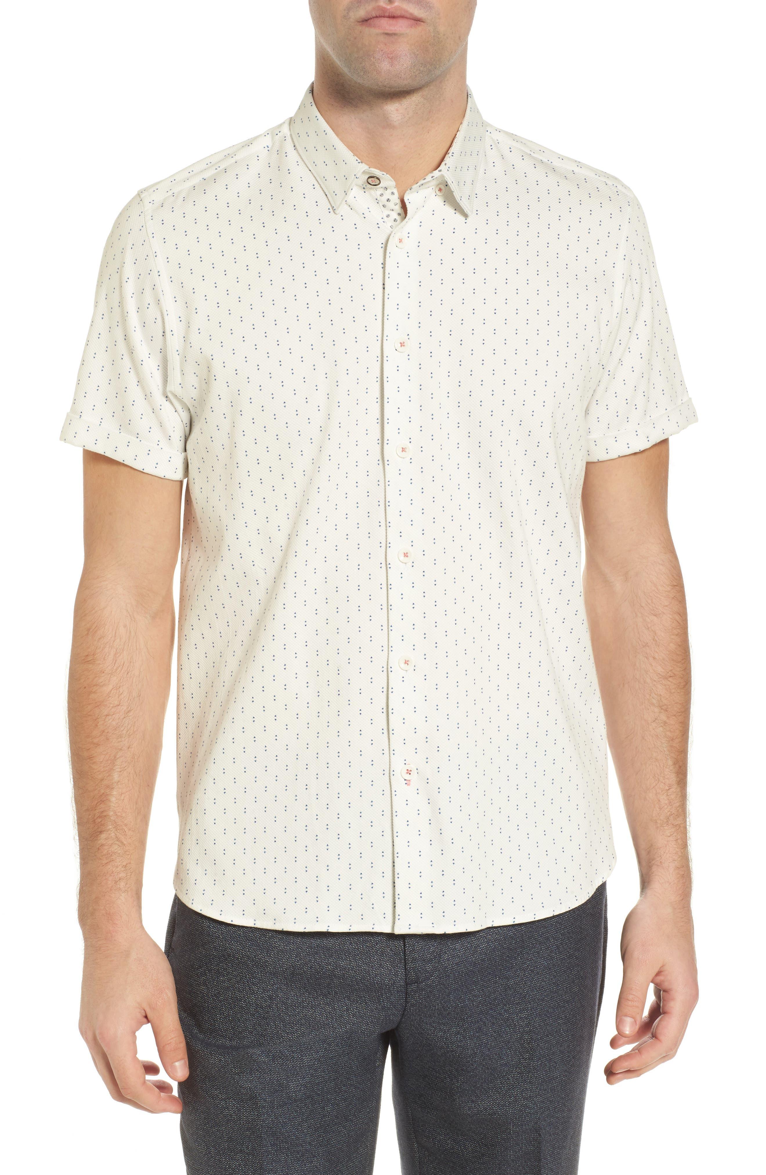 TED BAKER LONDON Franko Print Sport Shirt, Main, color, 100