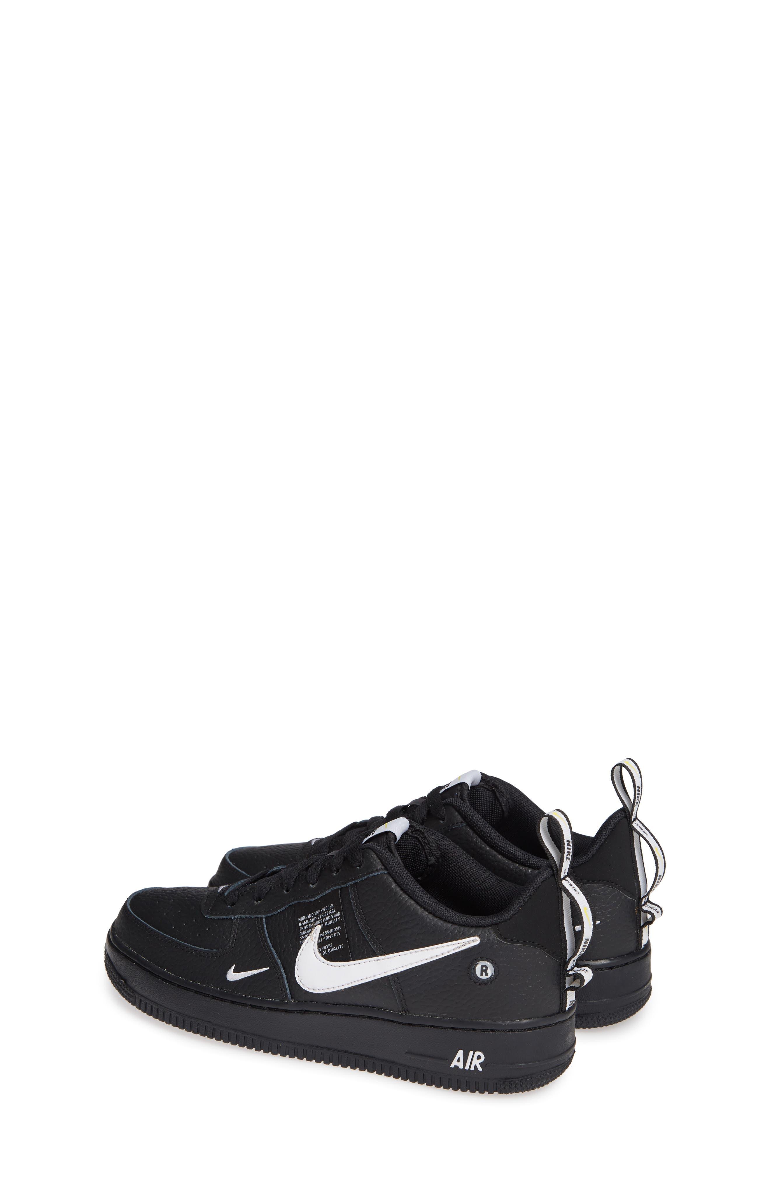 NIKE,                             Air Force 1 LV8 Sneaker,                             Alternate thumbnail 3, color,                             BLACK/ WHITE-BLACK-TOUR YELLOW