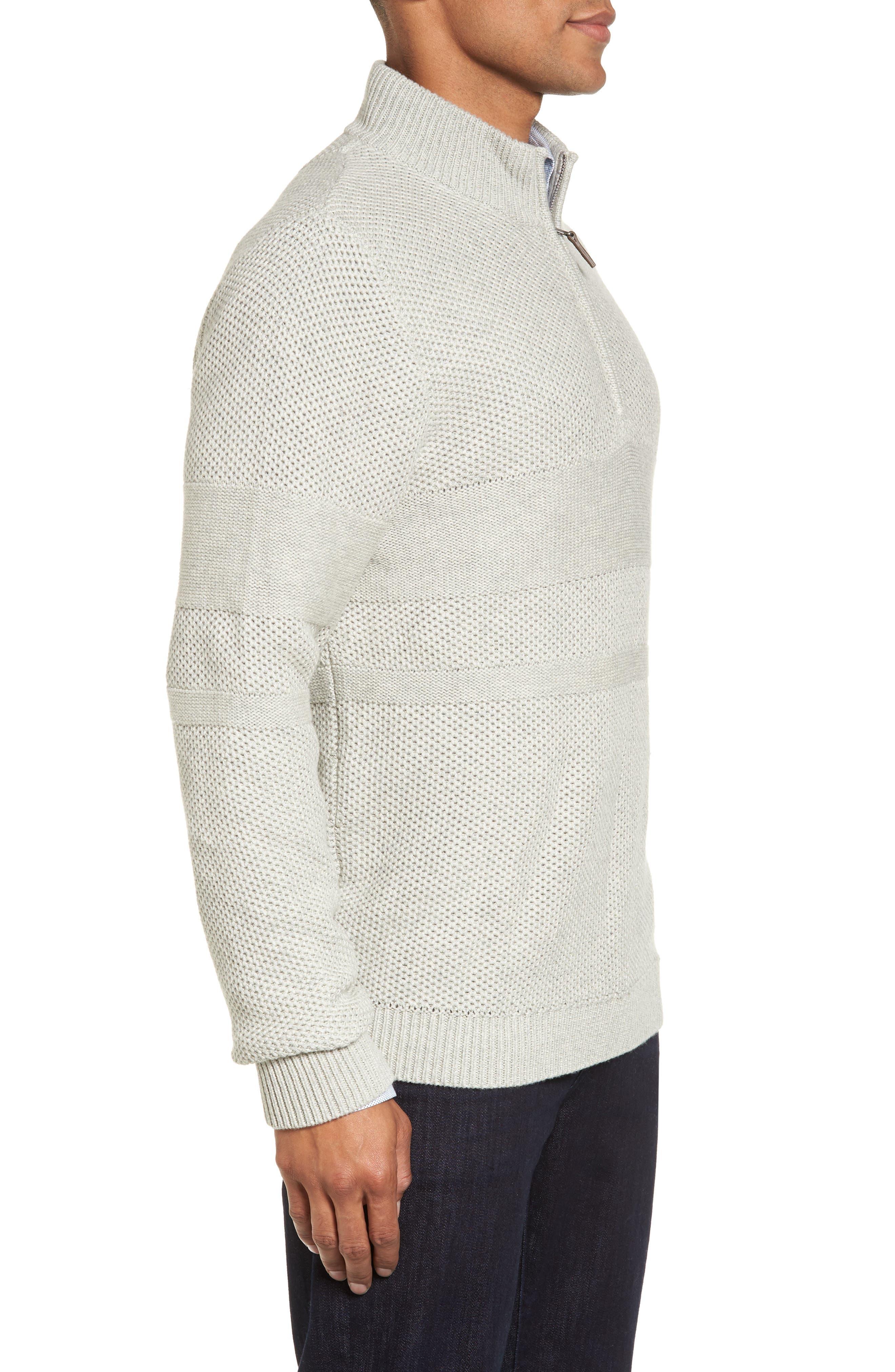 Texture Cotton & Cashmere Quarter Zip Sweater,                             Alternate thumbnail 4, color,                             050