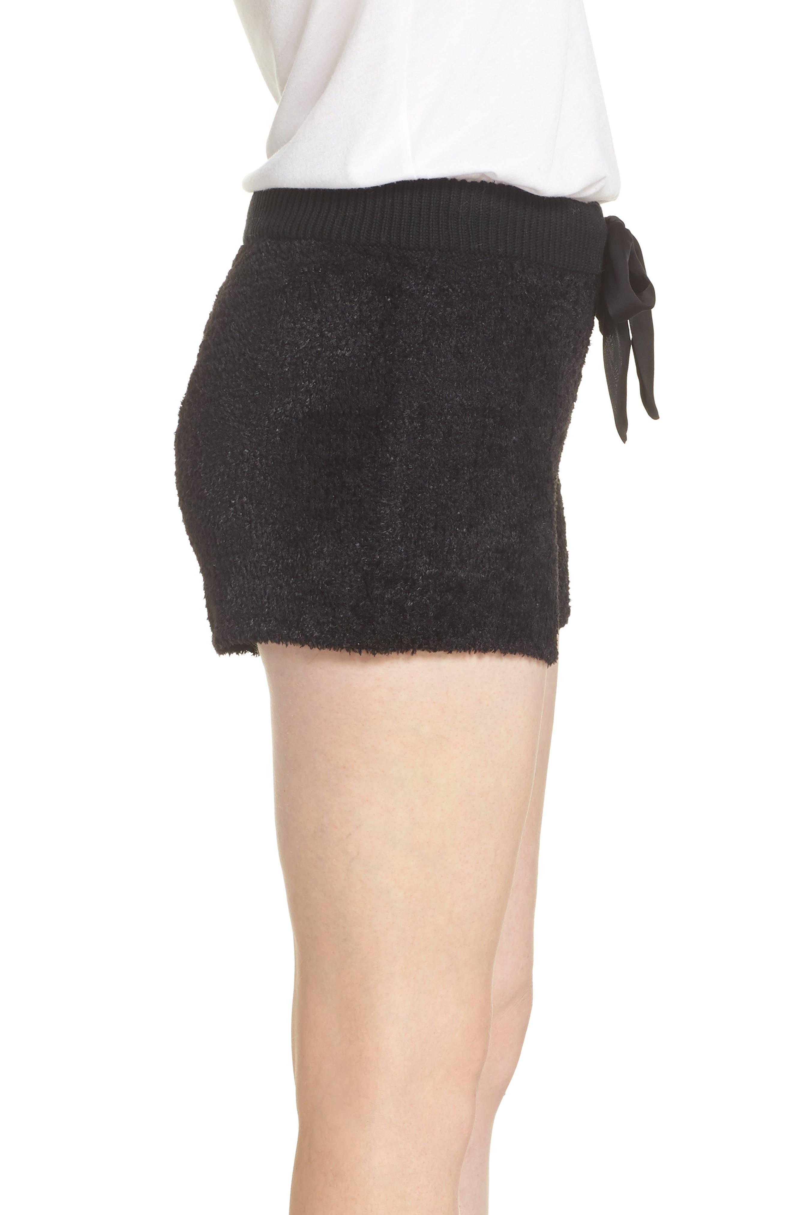 Fuzzy Lounge Shorts,                             Alternate thumbnail 3, color,                             BLACK
