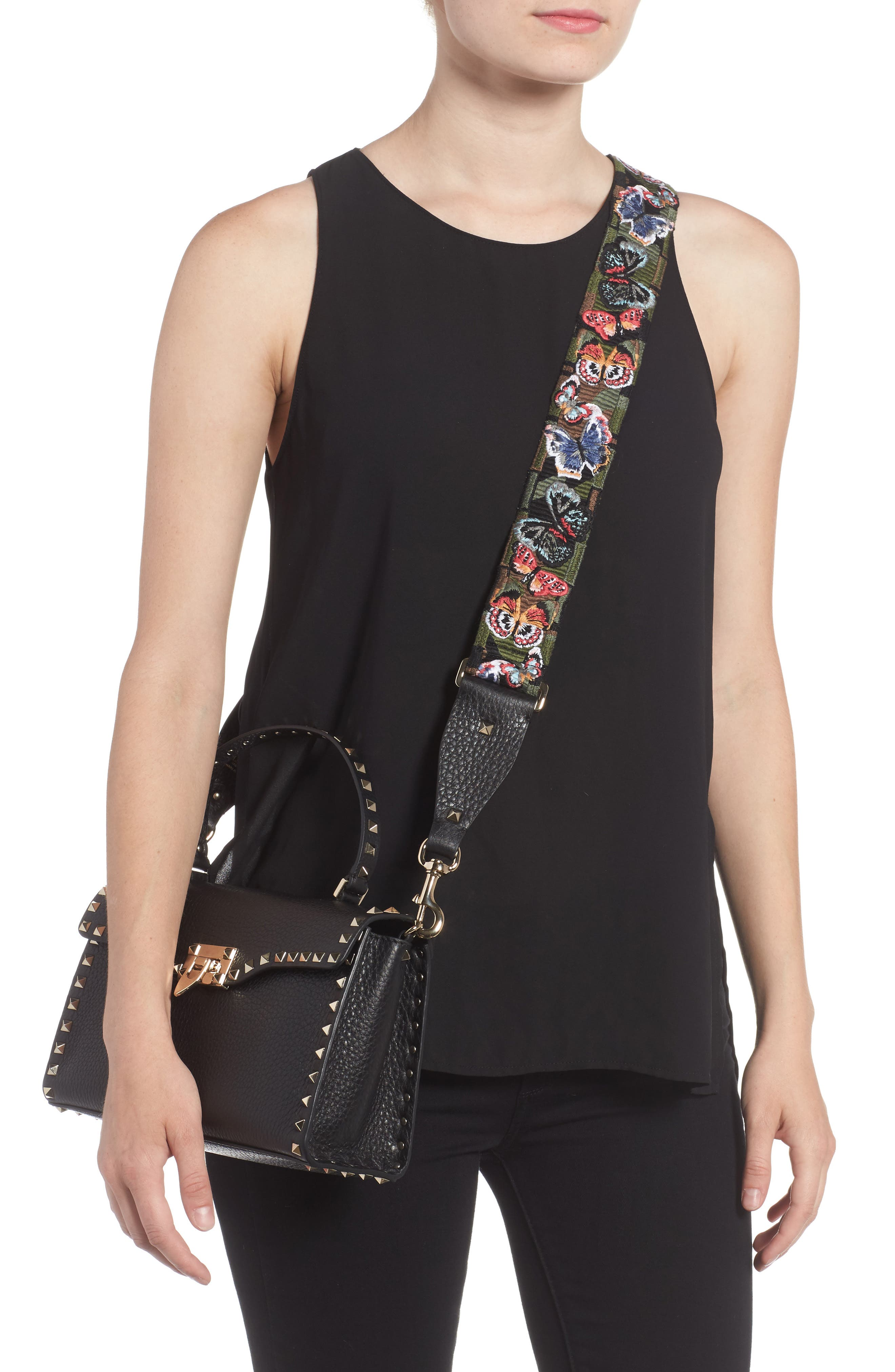 Embroidered Butterfly Rockstud Leather Guitar Strap,                             Alternate thumbnail 2, color,                             398