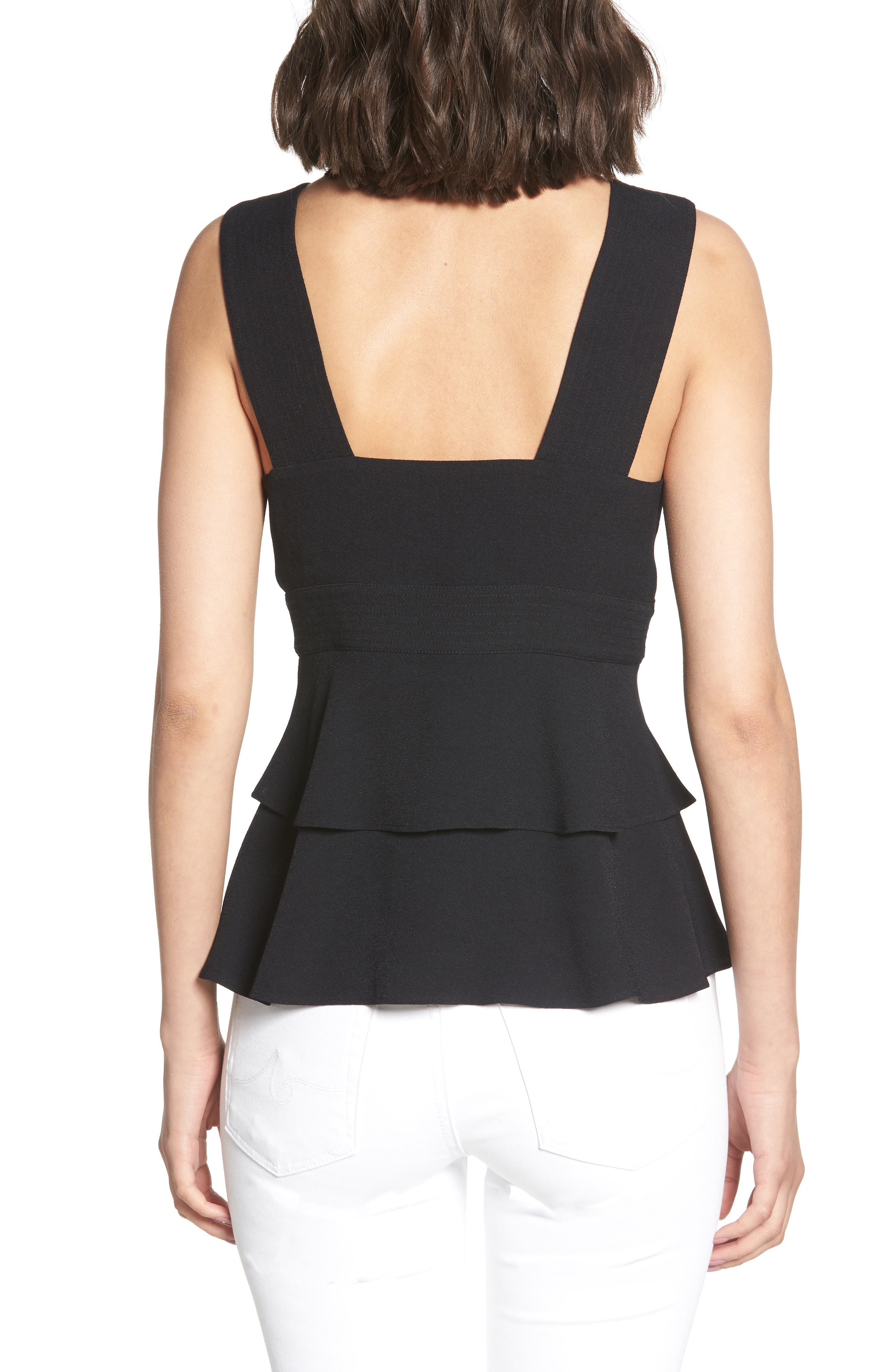 Trapunto Zip Front Sleeveless Top,                             Alternate thumbnail 2, color,                             BLACK