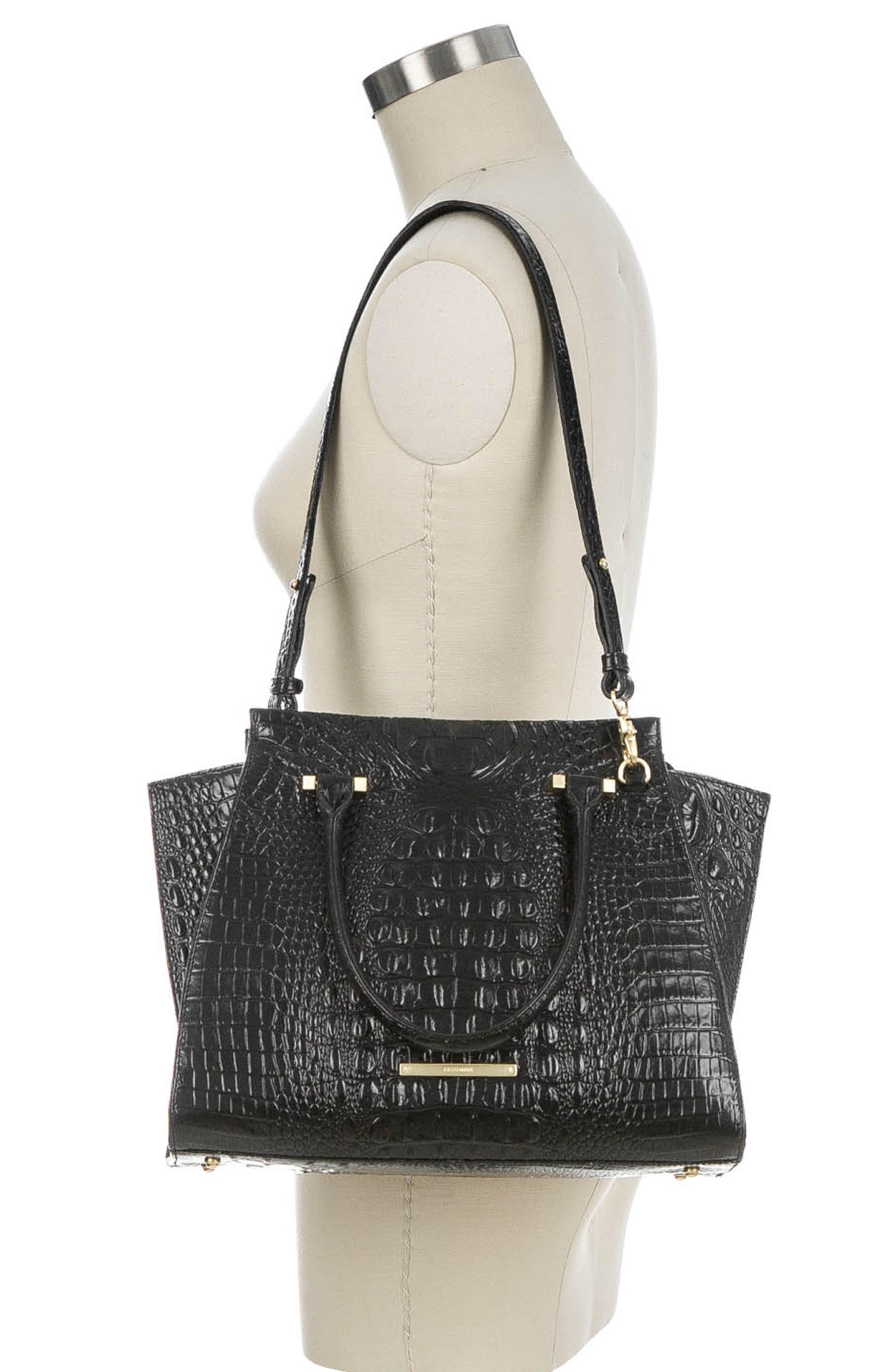 'Priscilla' Croc Embossed Leather Satchel,                             Alternate thumbnail 2, color,                             BLACK