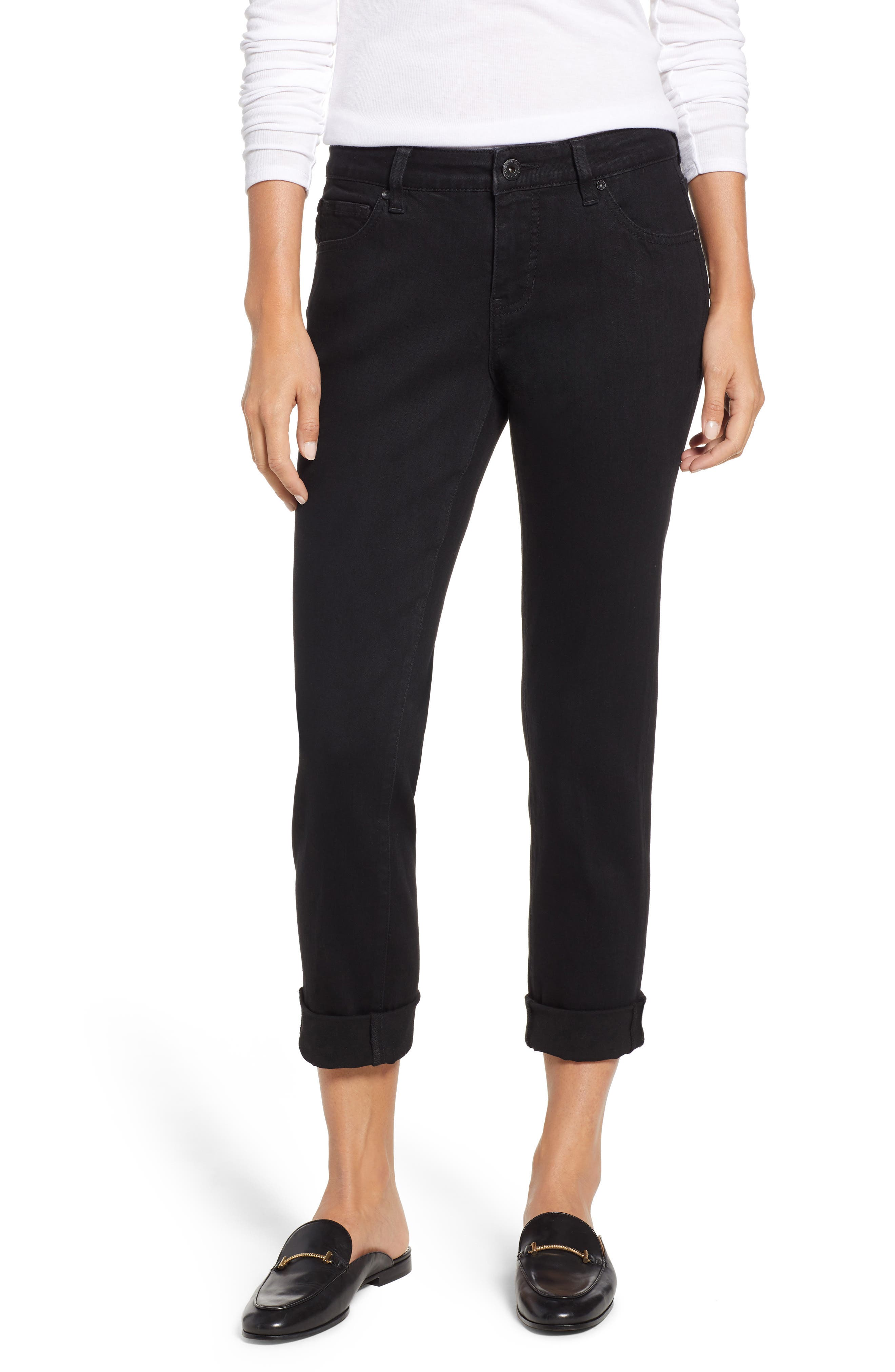 Carter Girlfriend Jeans, Main, color, BLACK