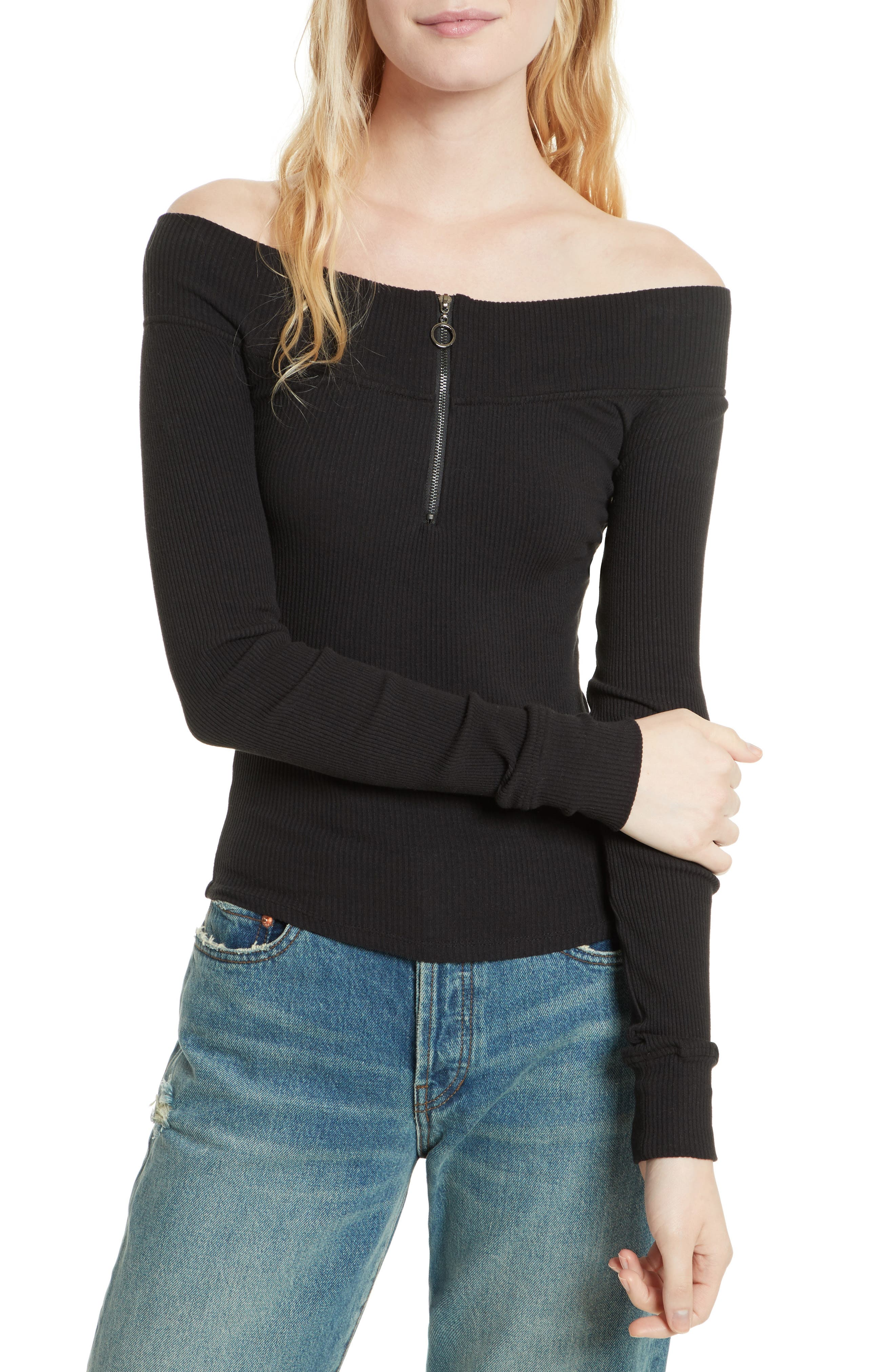 Zip to It Off the Shoulder Top,                             Main thumbnail 1, color,