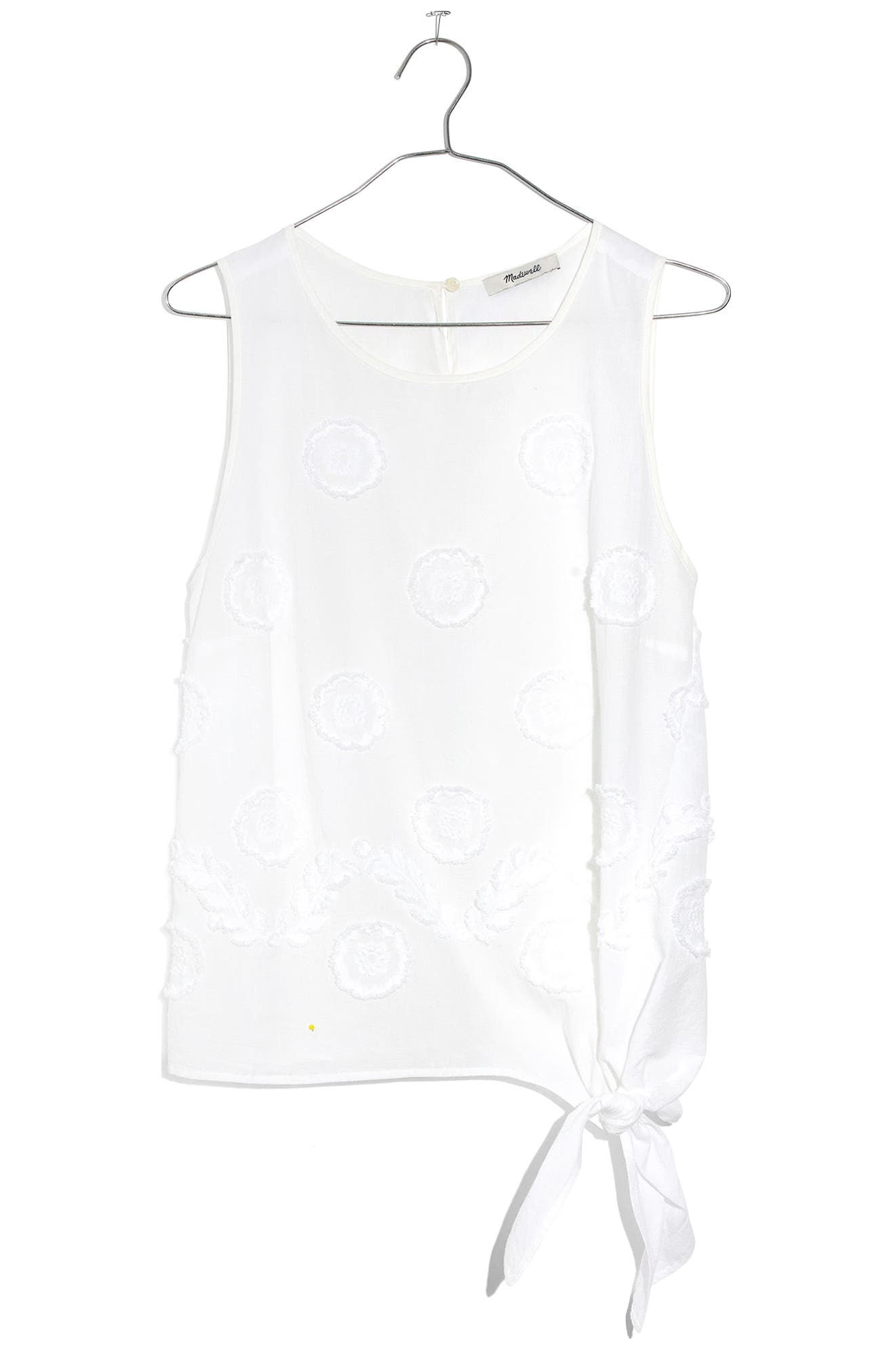 MADEWELL,                             Embroidered Side Tie Tank,                             Alternate thumbnail 4, color,                             101