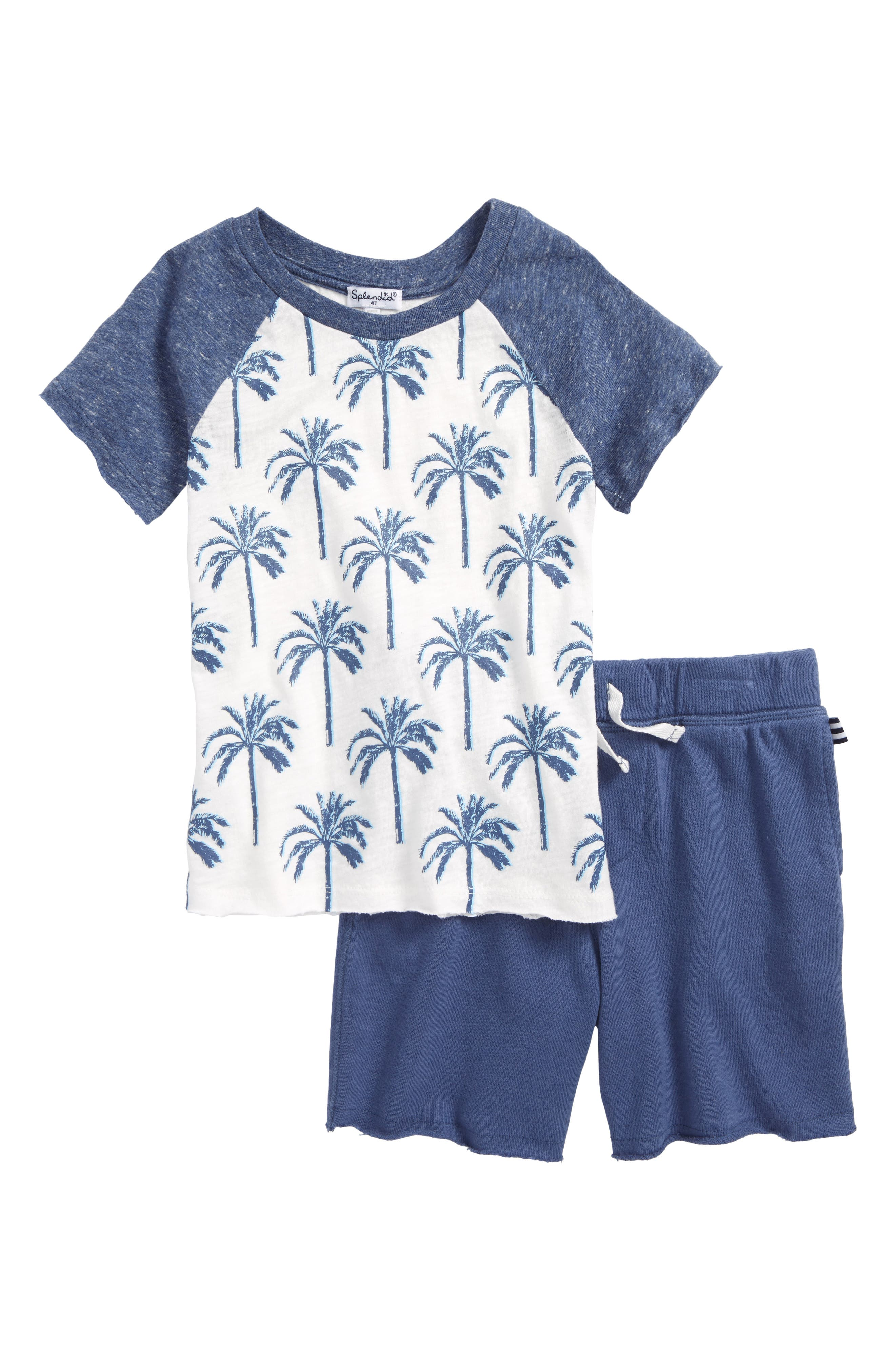 Palm Tree T-Shirt & Shorts Set,                             Main thumbnail 1, color,                             401