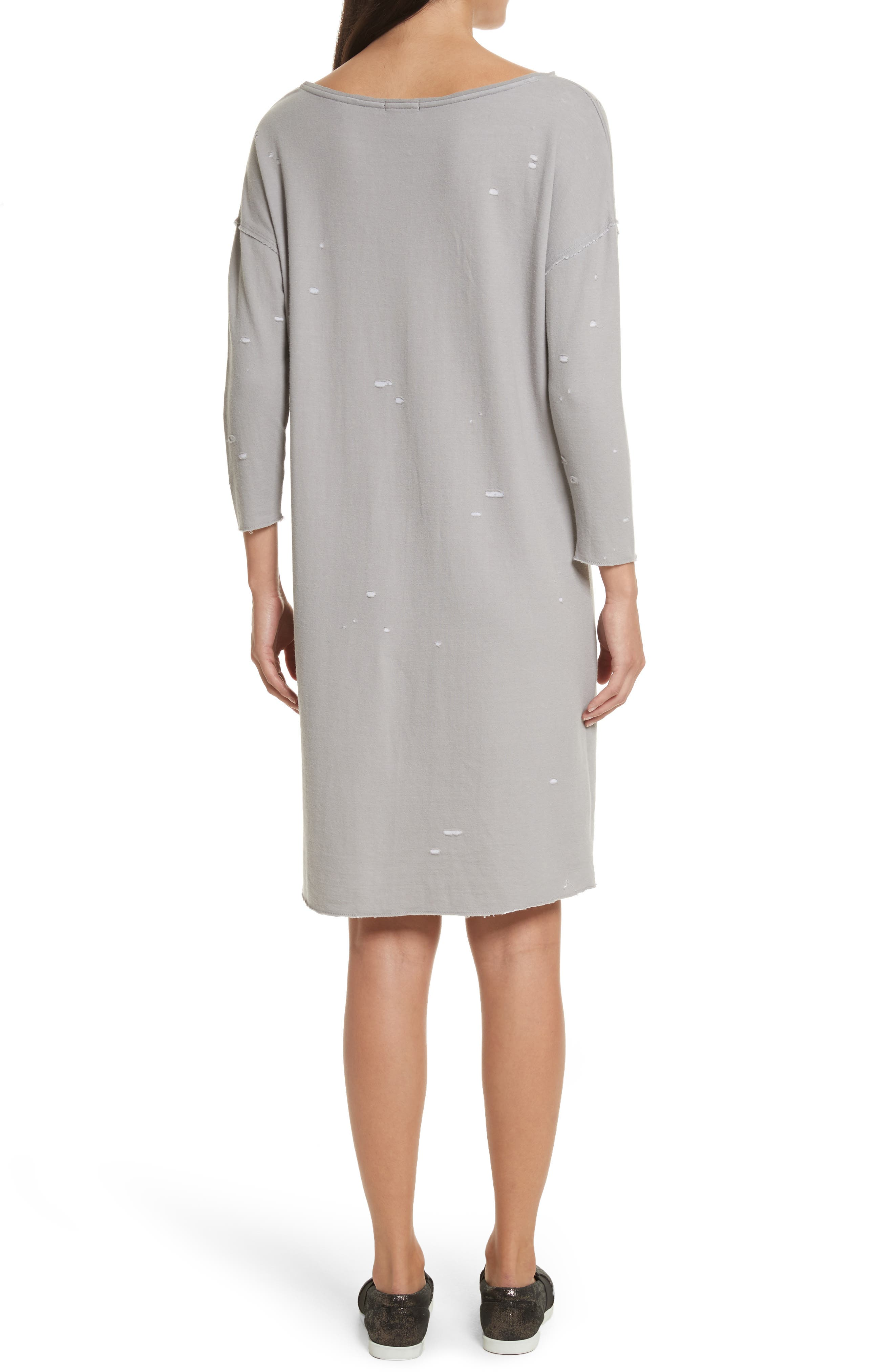 Destroyed Double-Faced Jersey Dress,                             Alternate thumbnail 2, color,