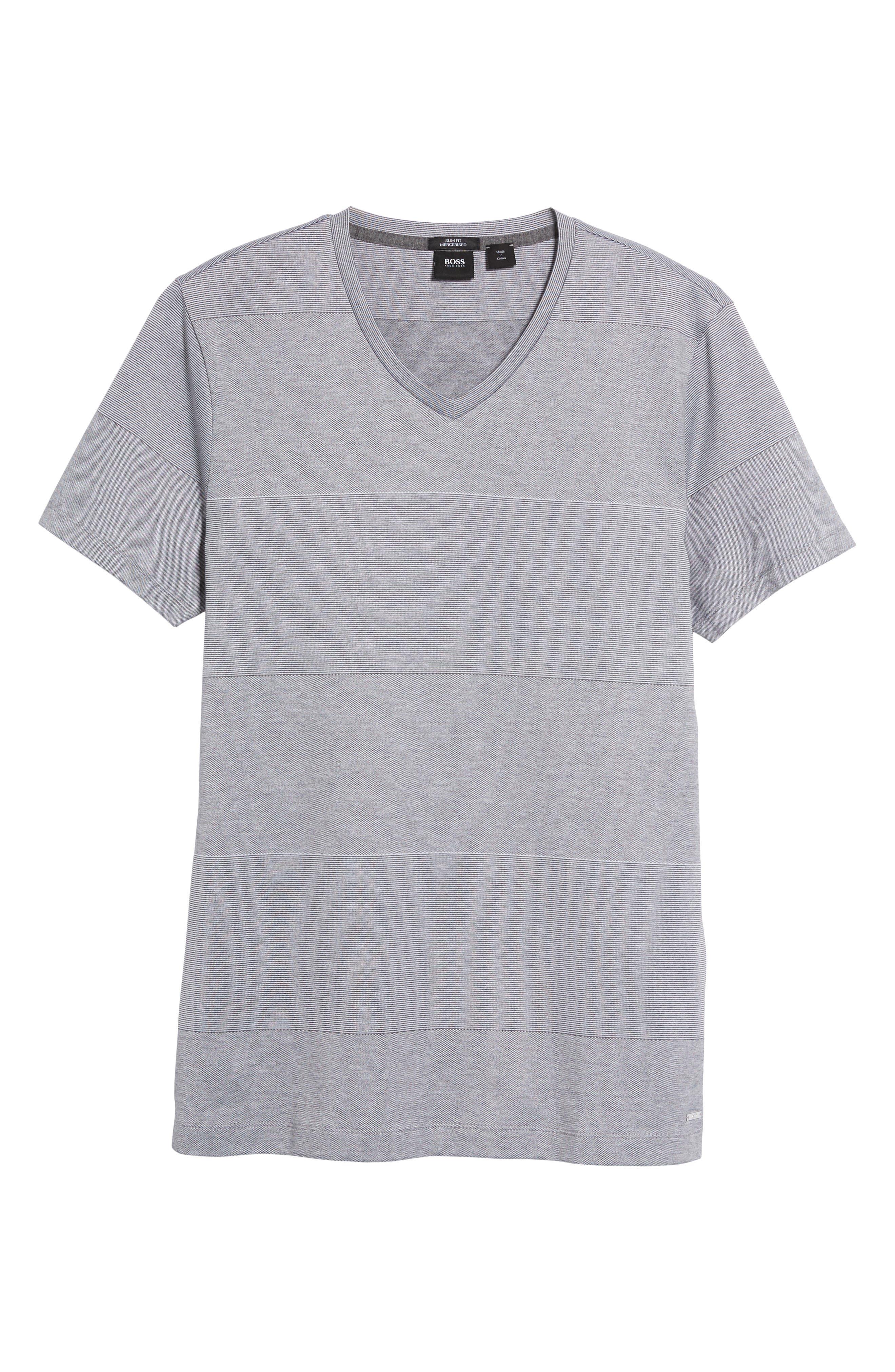 Slim Fit Stripe V-Neck T-Shirt,                             Alternate thumbnail 6, color,                             030