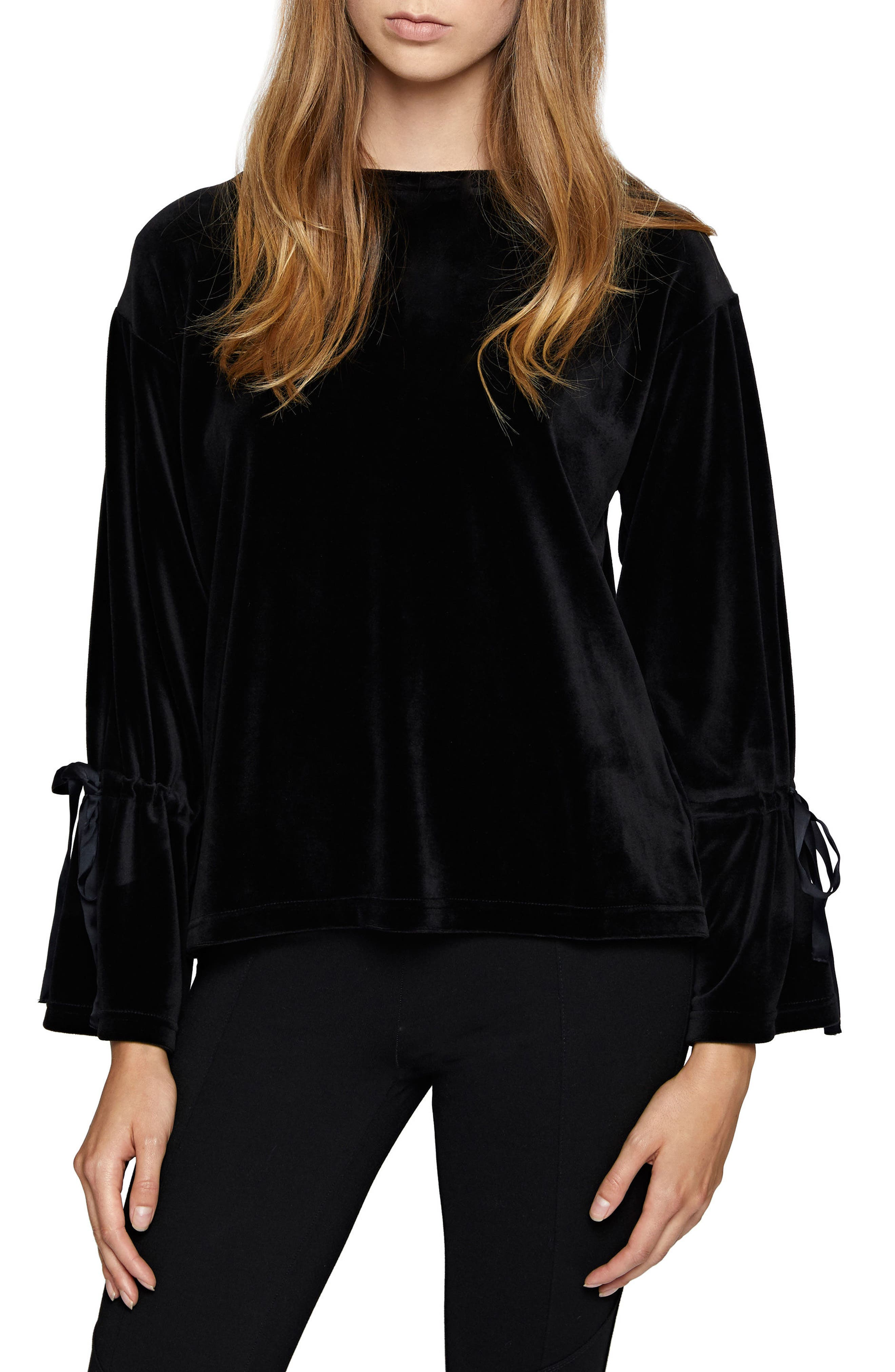 Tierney Tie Sleeve Velour Top,                             Main thumbnail 1, color,