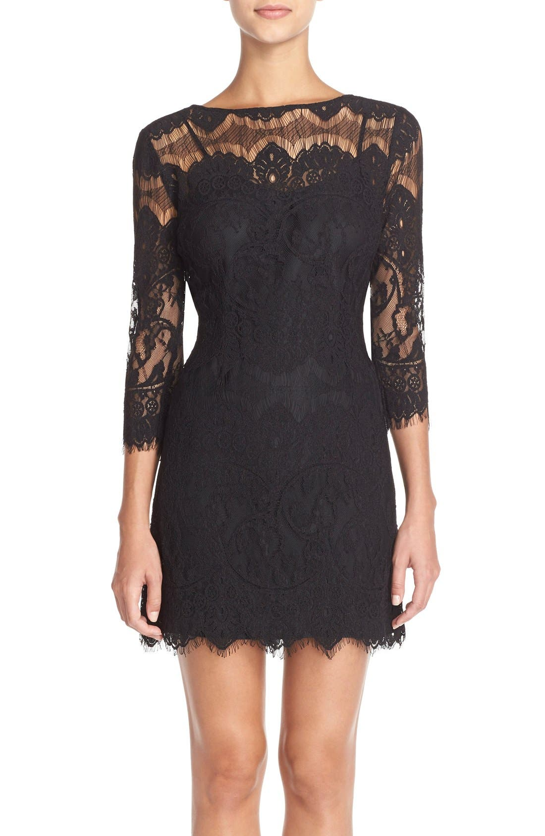 'Natalia' Lace Sheath Dress,                             Main thumbnail 1, color,                             001
