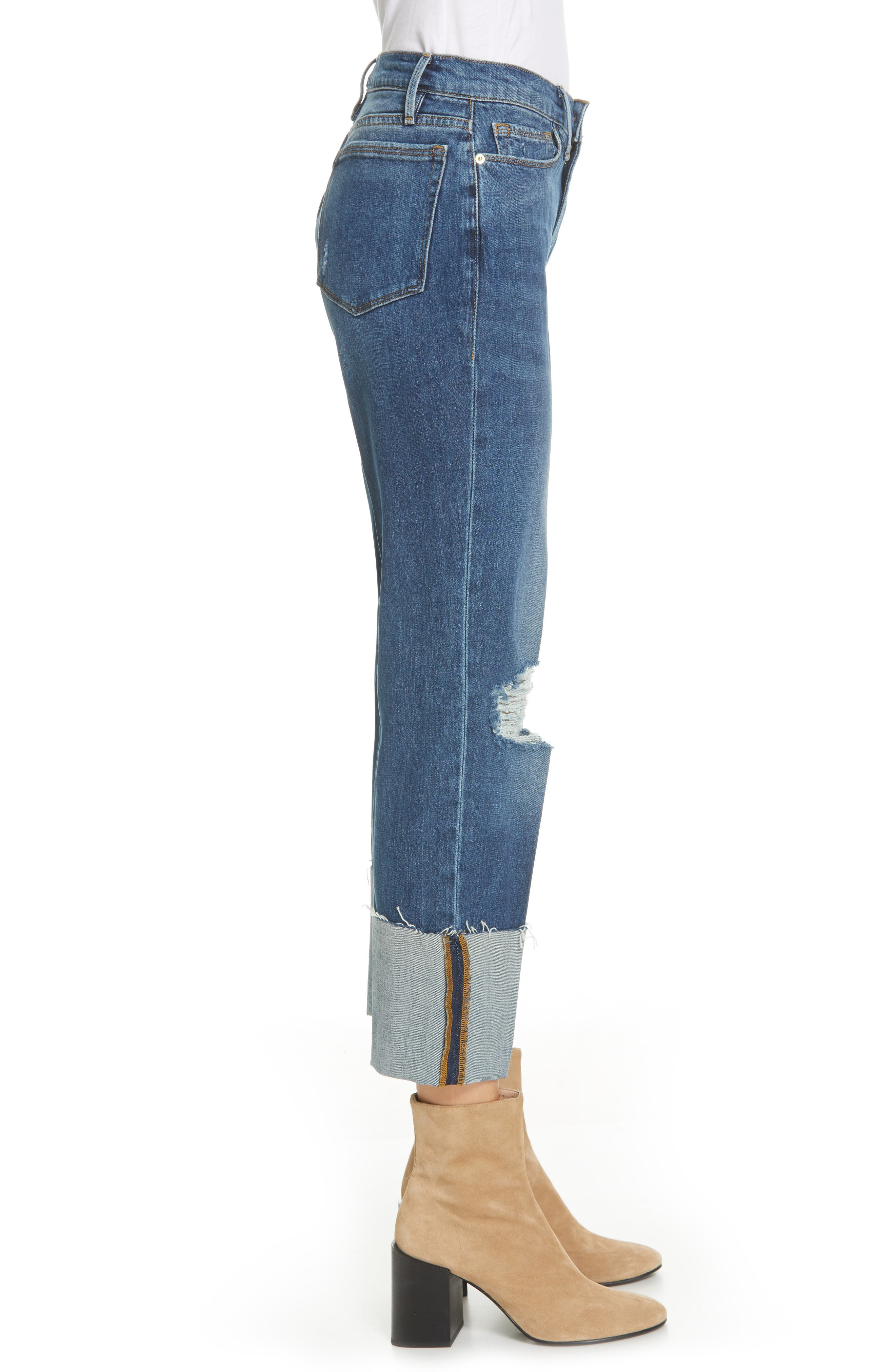 Le Nouveau Straight Leg Big Cuff Jeans,                             Alternate thumbnail 3, color,                             TEIGAN